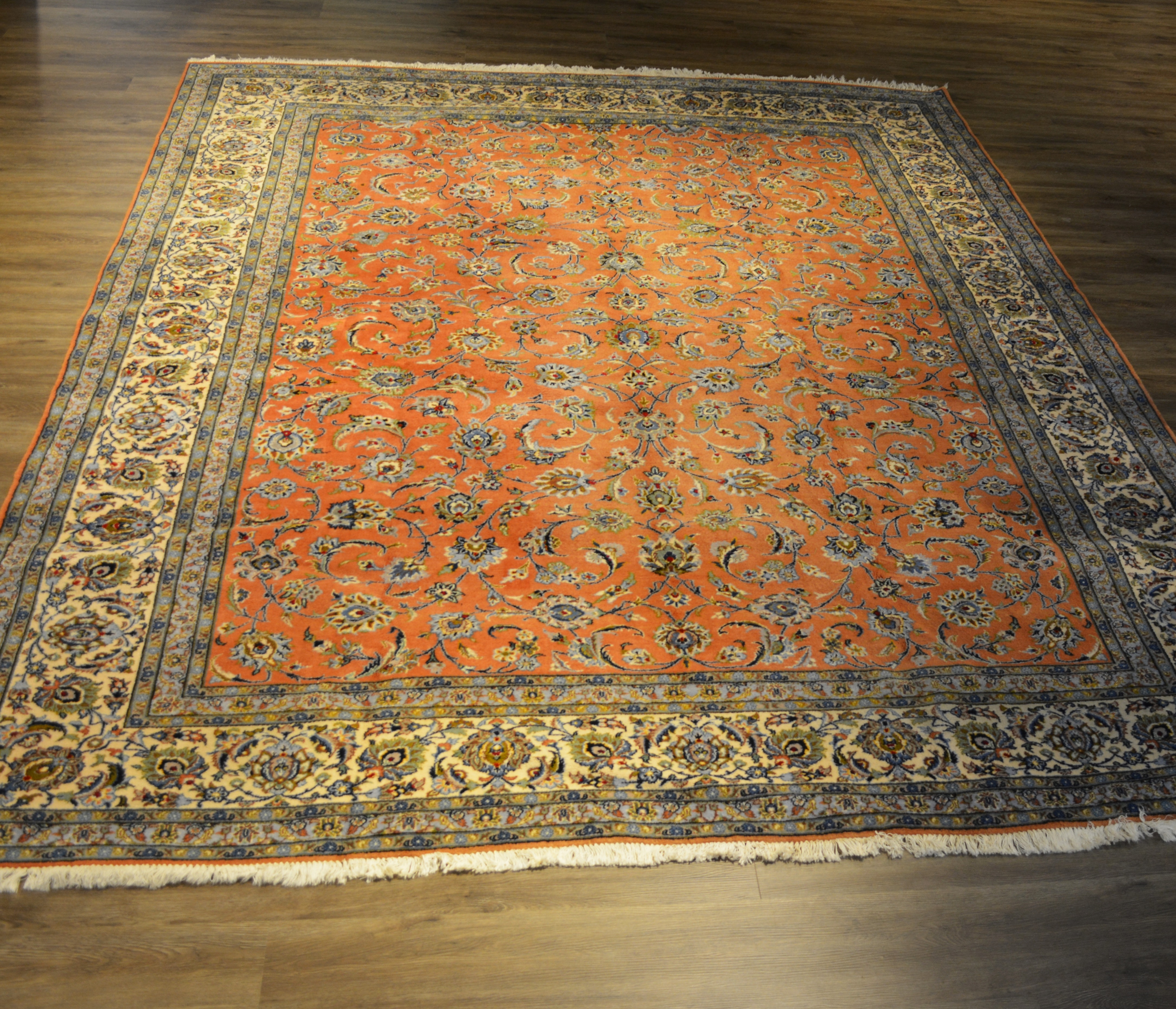 Vintage Signed Hand-Knotted Persian Kashan Wool Area Rug