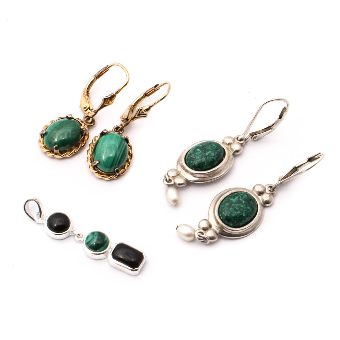 Sterling Silver and Green Stone Jewelry