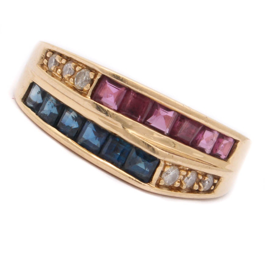 14K Yellow Gold Diamond, Sapphire and Ruby Ring