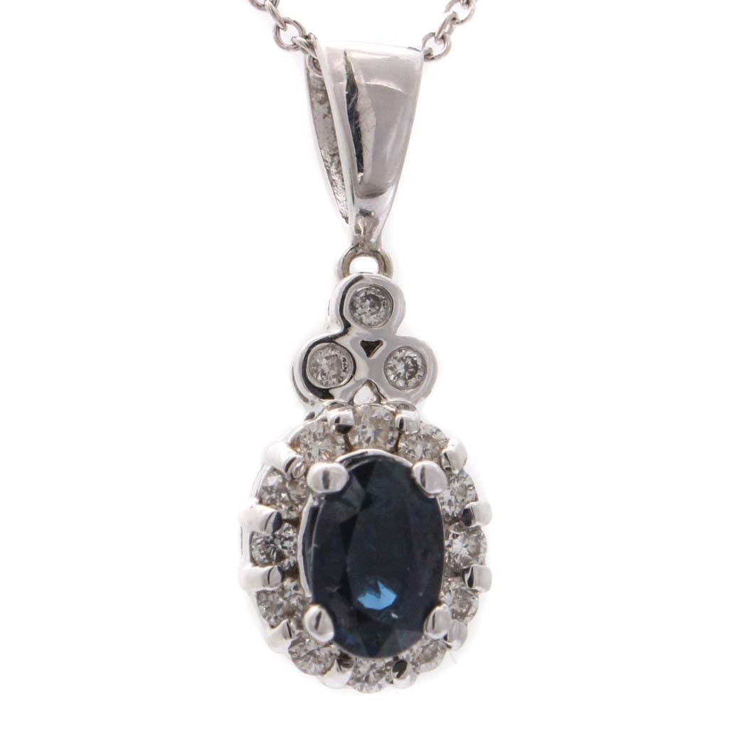 Le Vian 14K White Gold Diamond and Sapphire Necklace