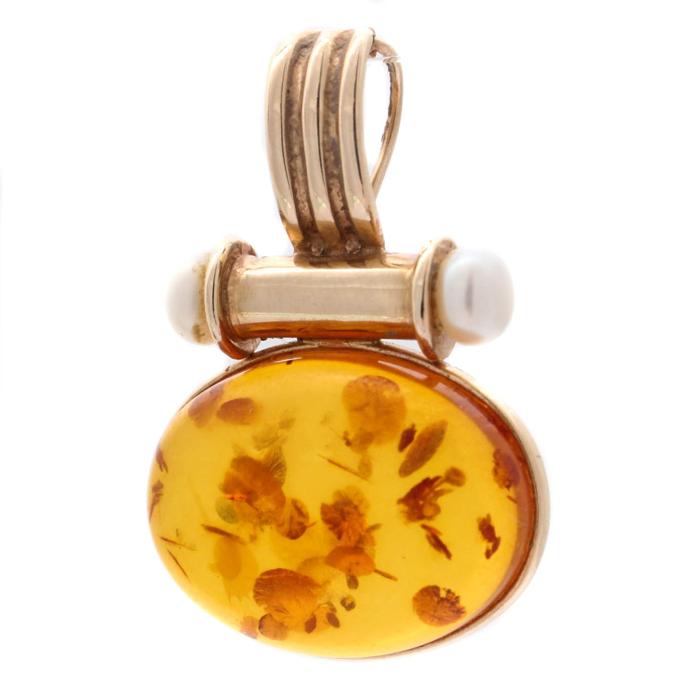 14K Yellow Gold Amber and Pearl Pendant