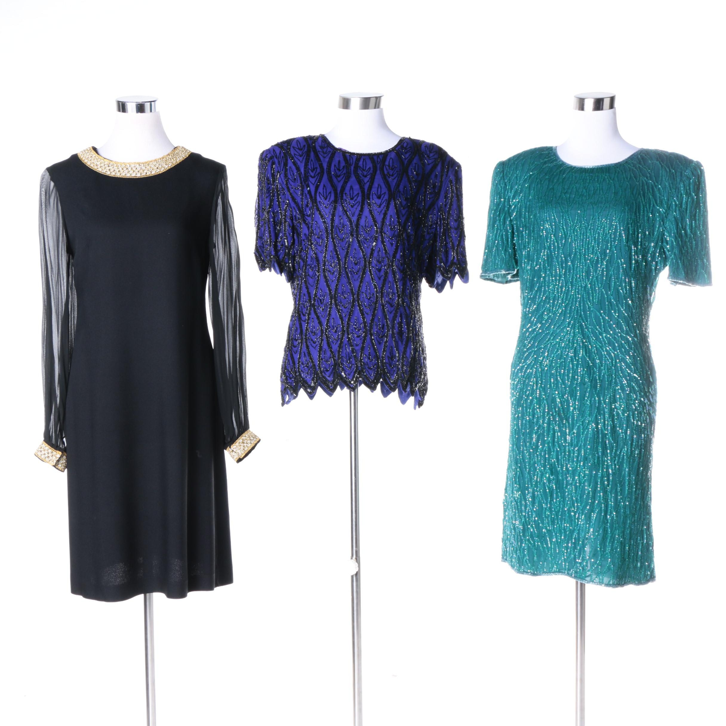 Vintage Embellished Dresses and Top Including Laurence Kazar