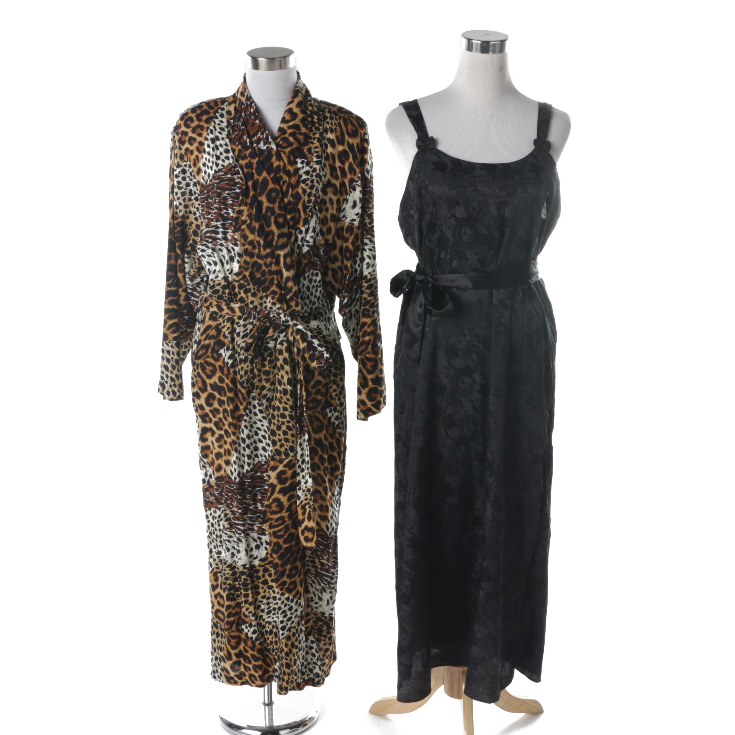 Animal Print Robe and Floral Nightgown Including Victoria's Secret