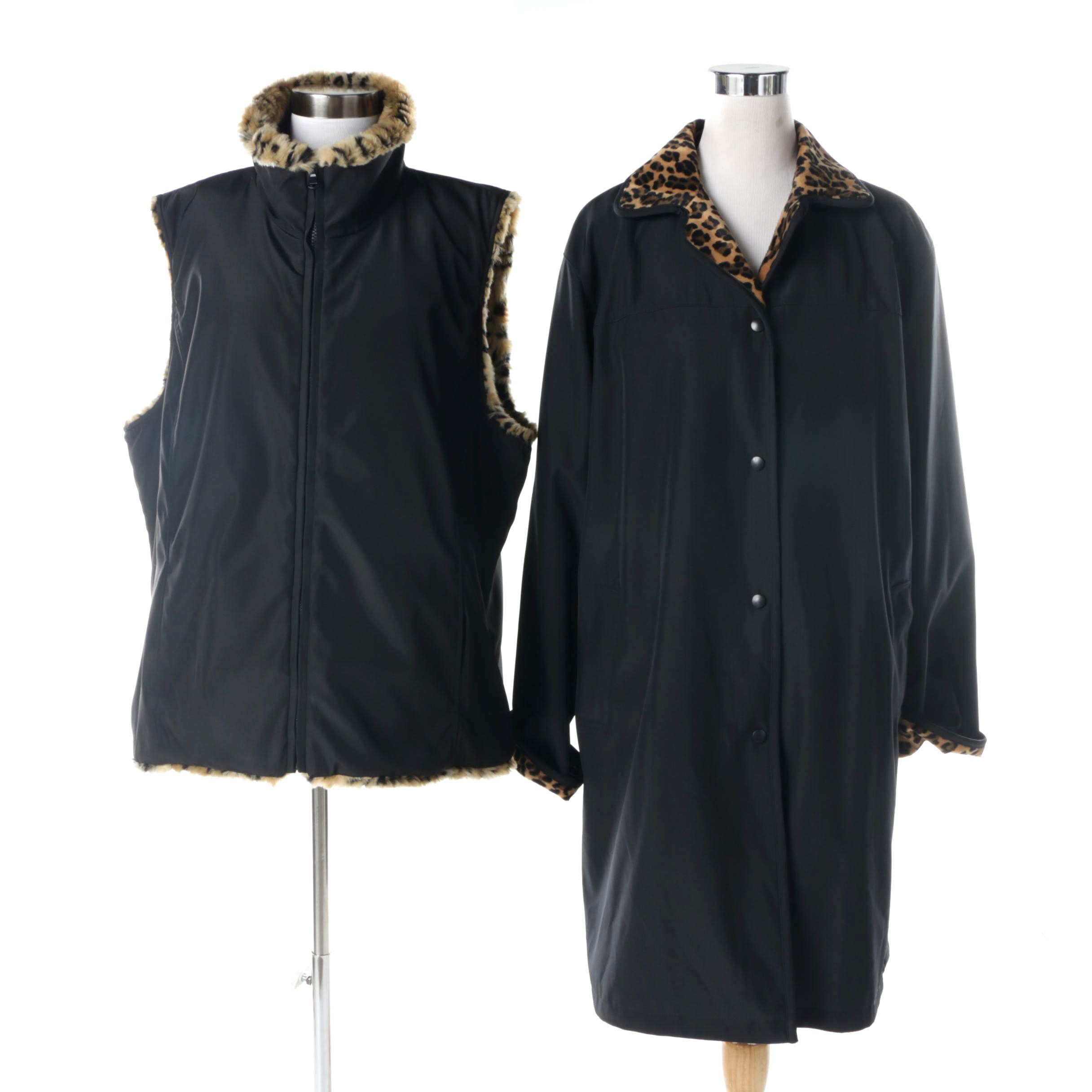 Women's Reversible Fabric and Faux Fur Outerwear