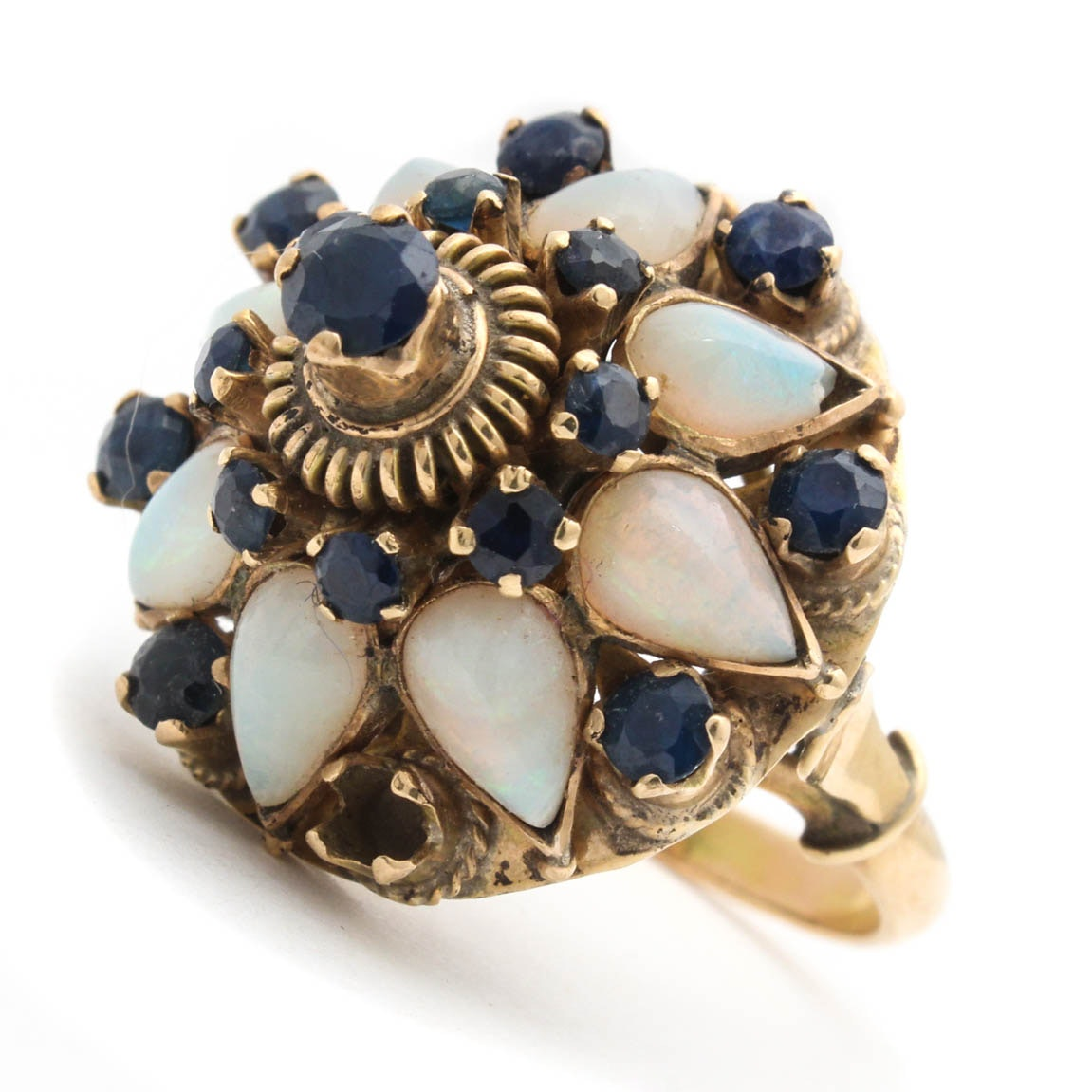 14K Yellow Gold Sapphire and Opal Ring