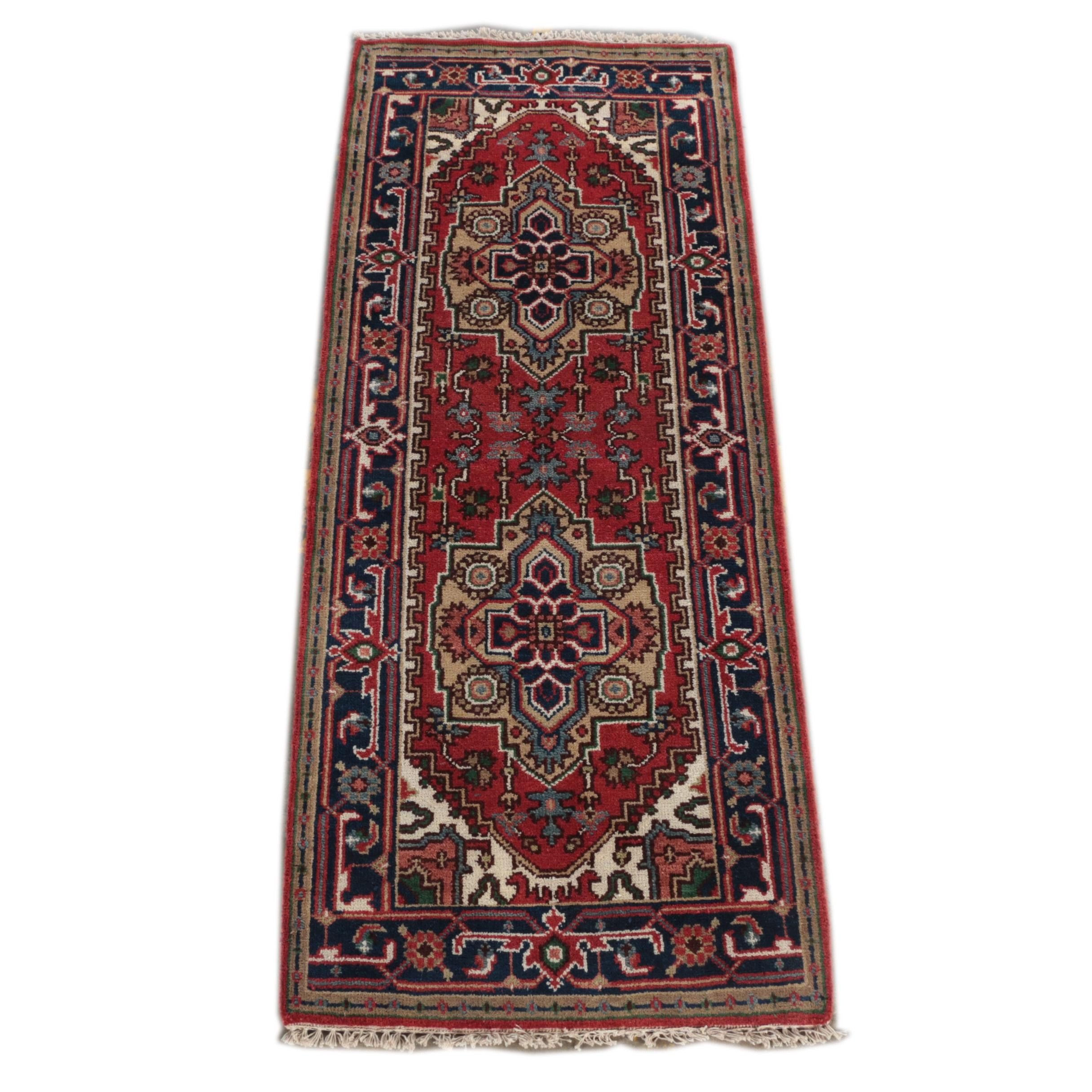 Hand-Knotted Indo-Heriz Runner