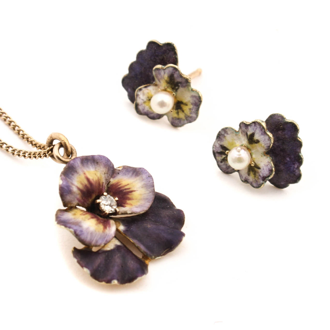 Vintage 14K Yellow Gold Diamond Cultured Pearl and Enamel Pansy Jewelry