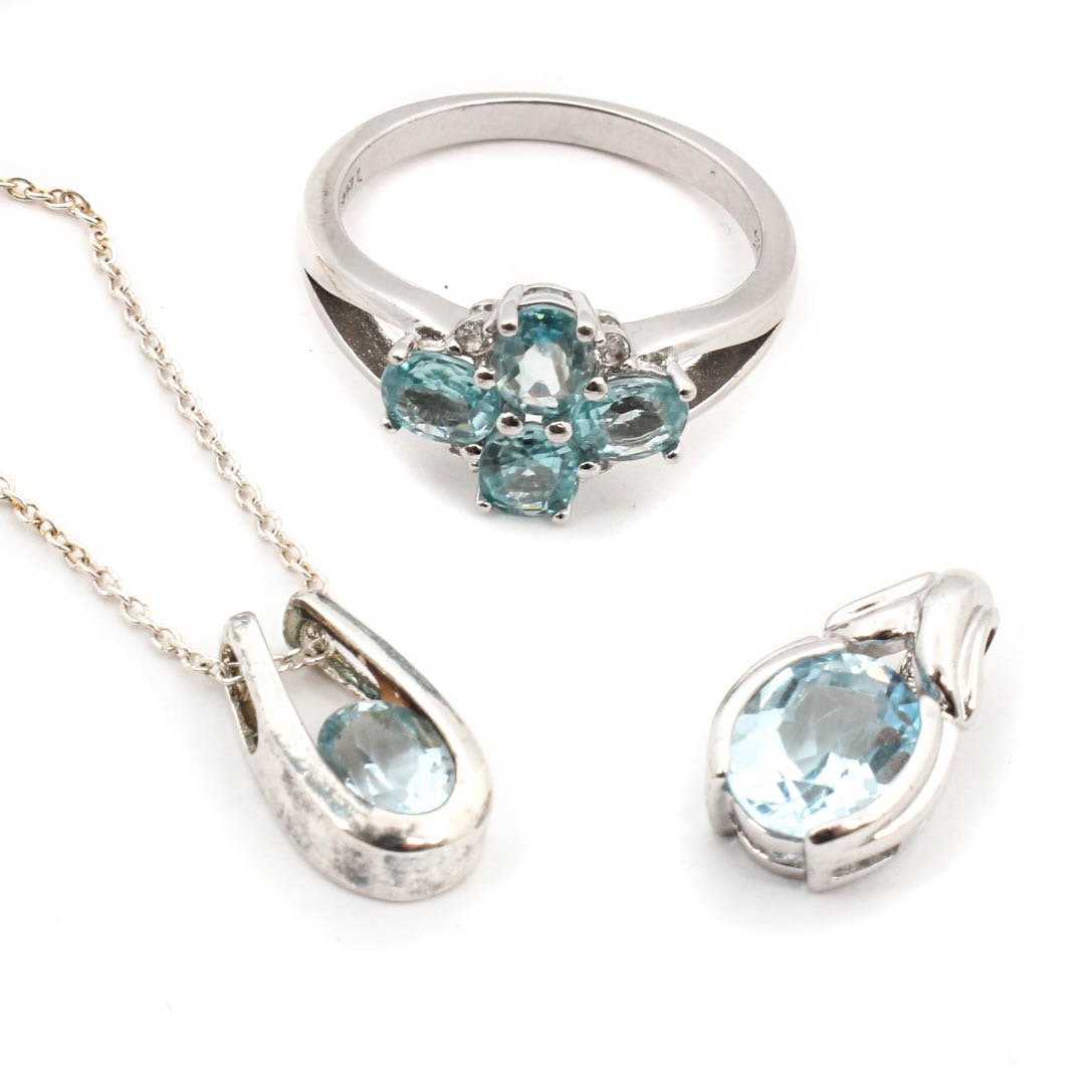 Sterling Silver Jewelry Featuring Blue and White Topaz