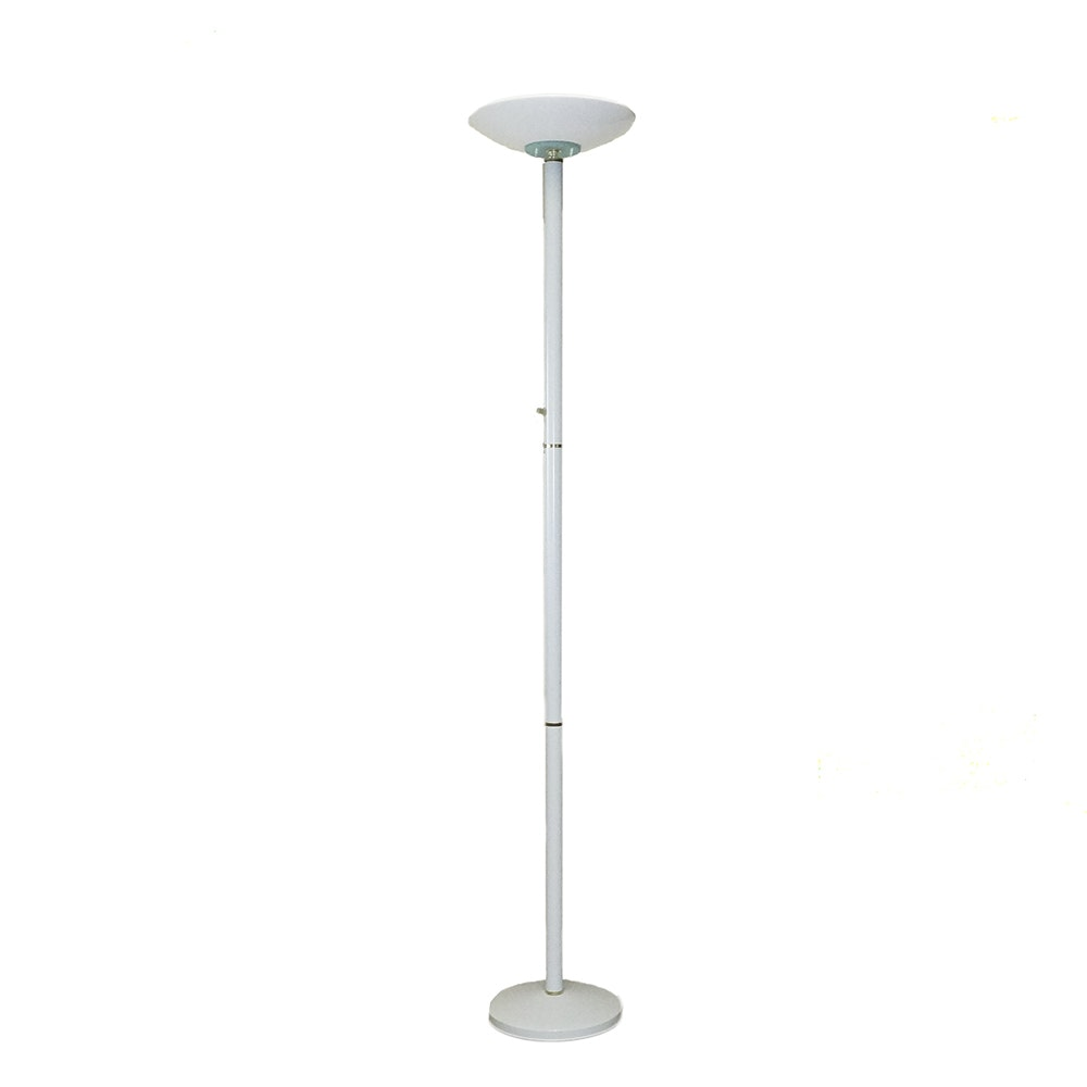Vintage Torchiere Style White Floor Lamp