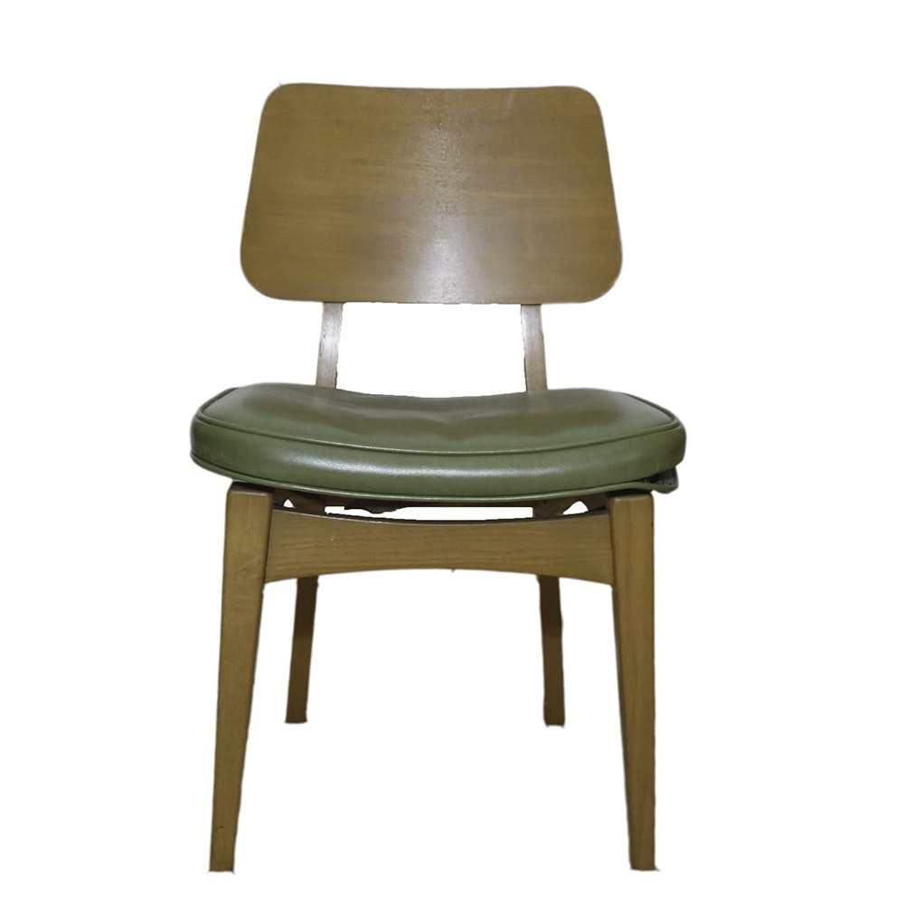 Mid Century Modern Side Chair with Green Vinyl Seat