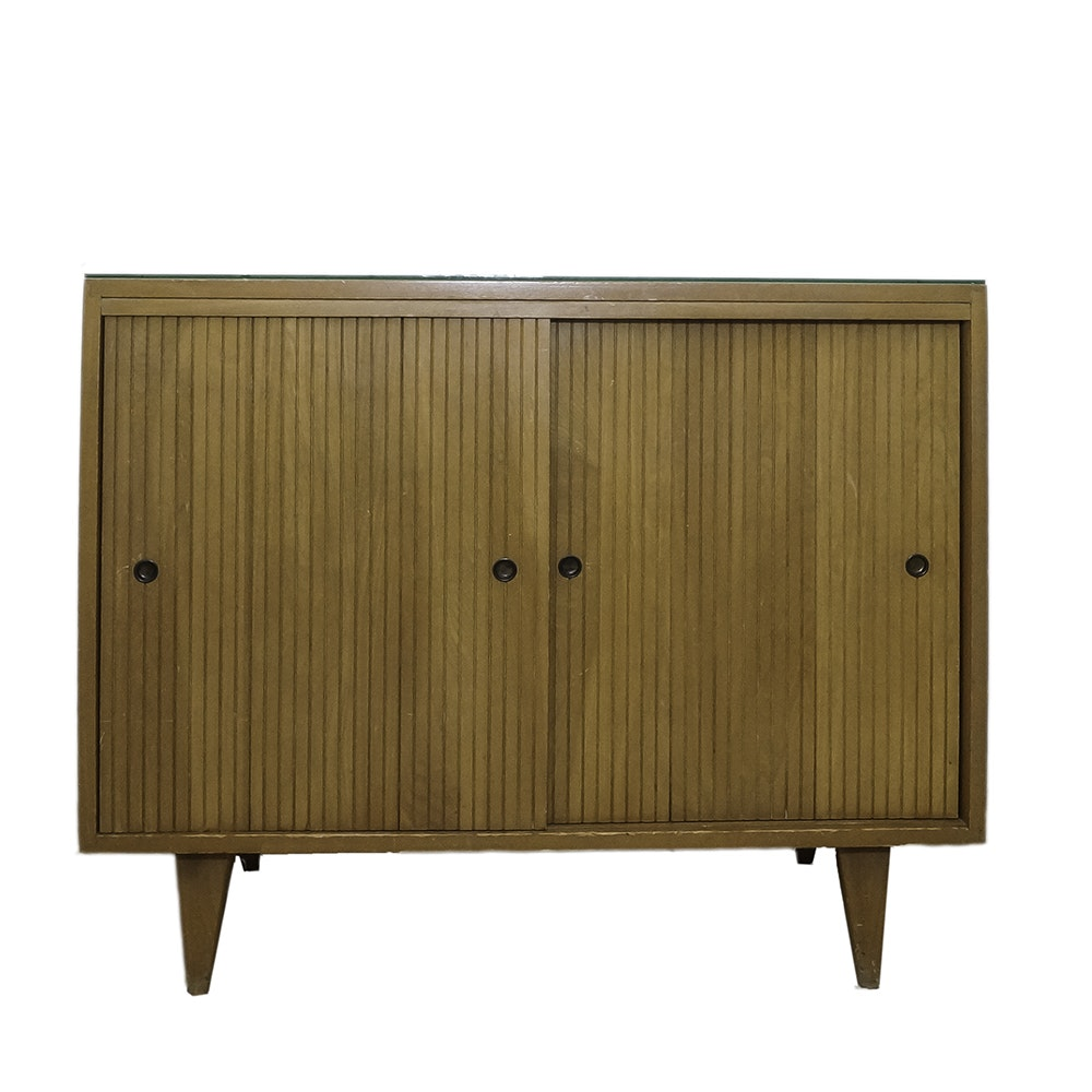 Mid Century Modern Console with Sliding Doors and Glass Top