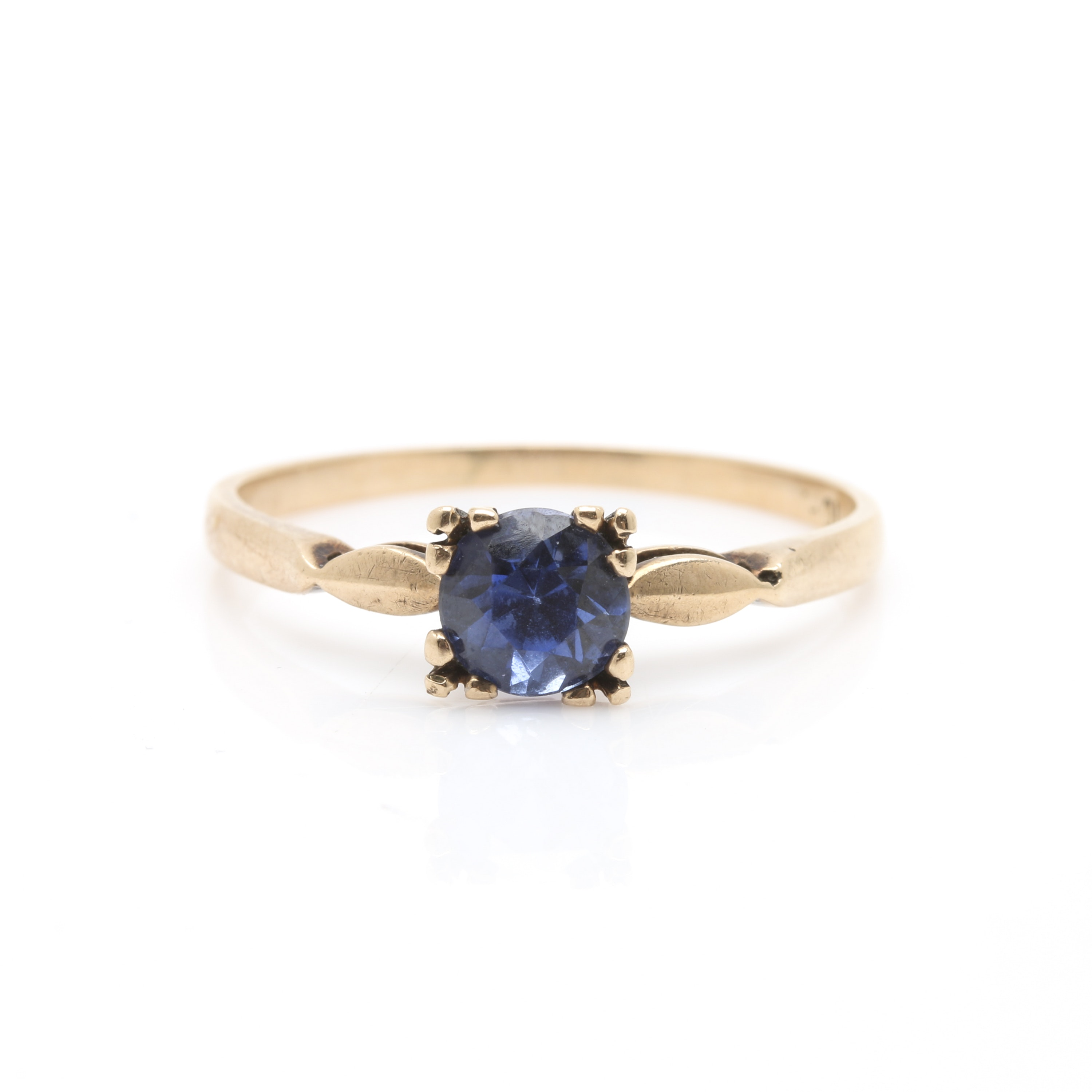 10K Yellow Gold Synthetic Sapphire Solitaire Ring