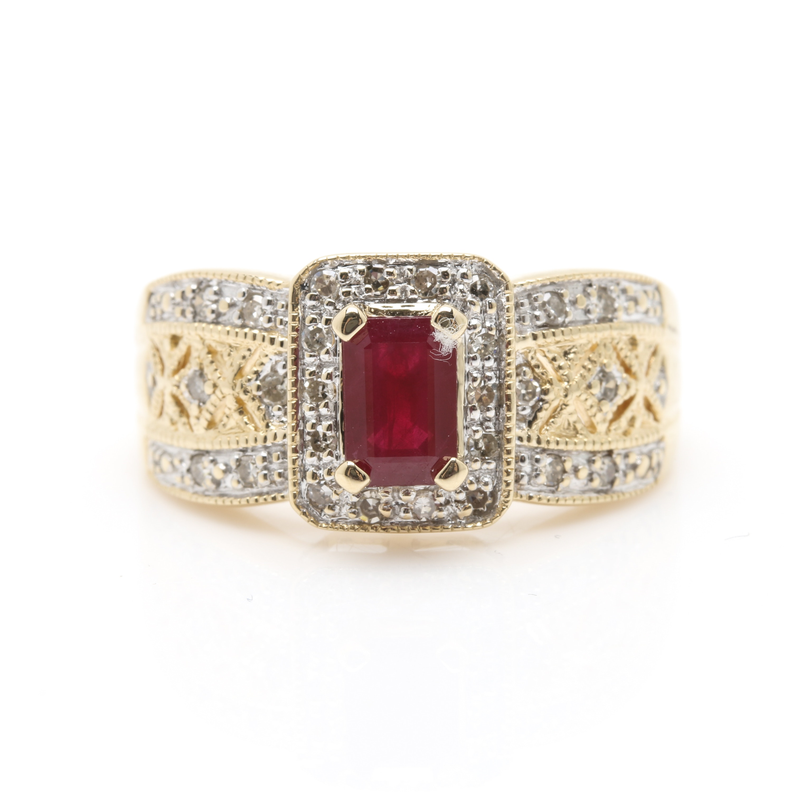 Alwand Vahan 14K Yellow Gold Synthetic Ruby and Diamond Ring
