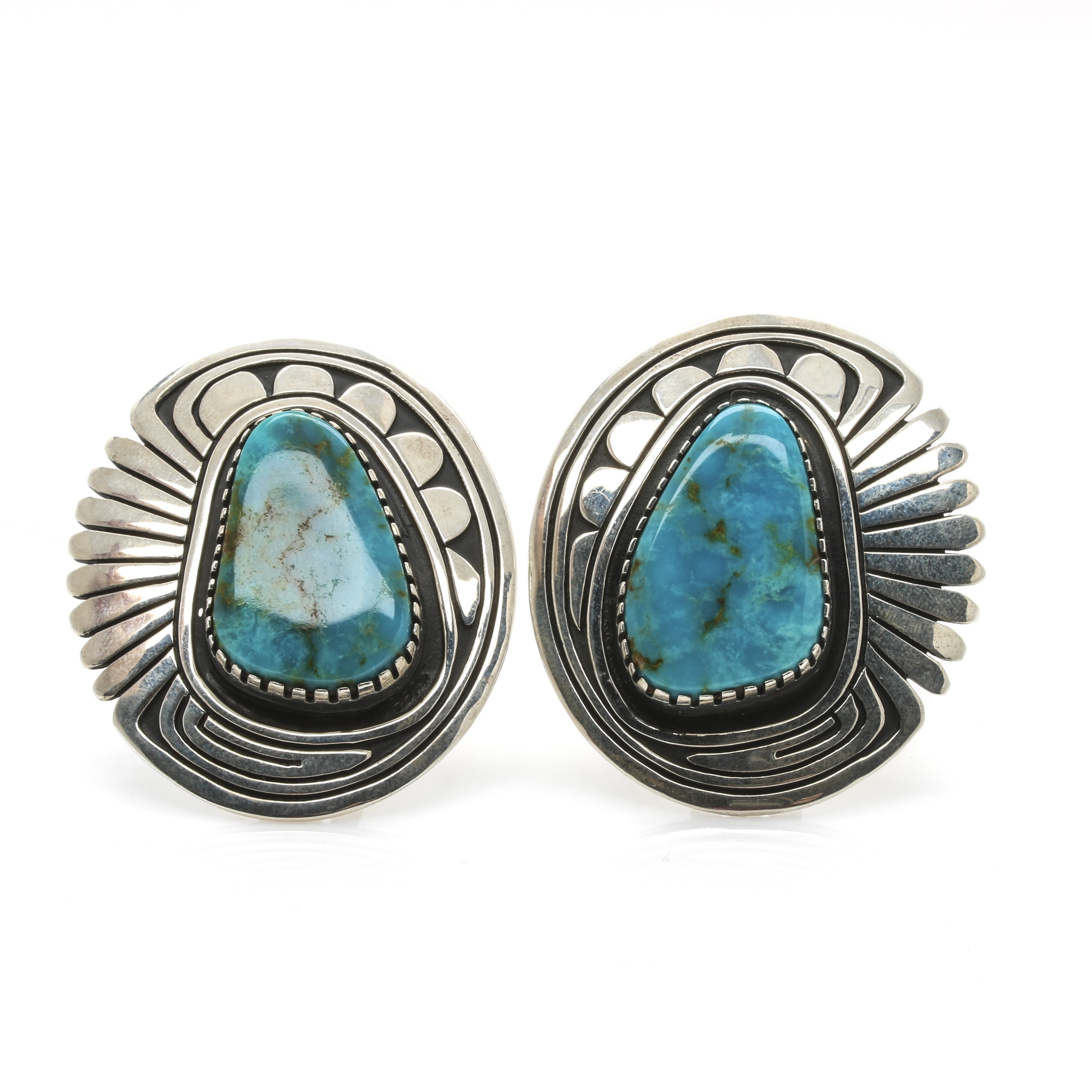 Steven Begay Navajo Diné Sterling Silver Overlay Turquoise Clip On Earrings