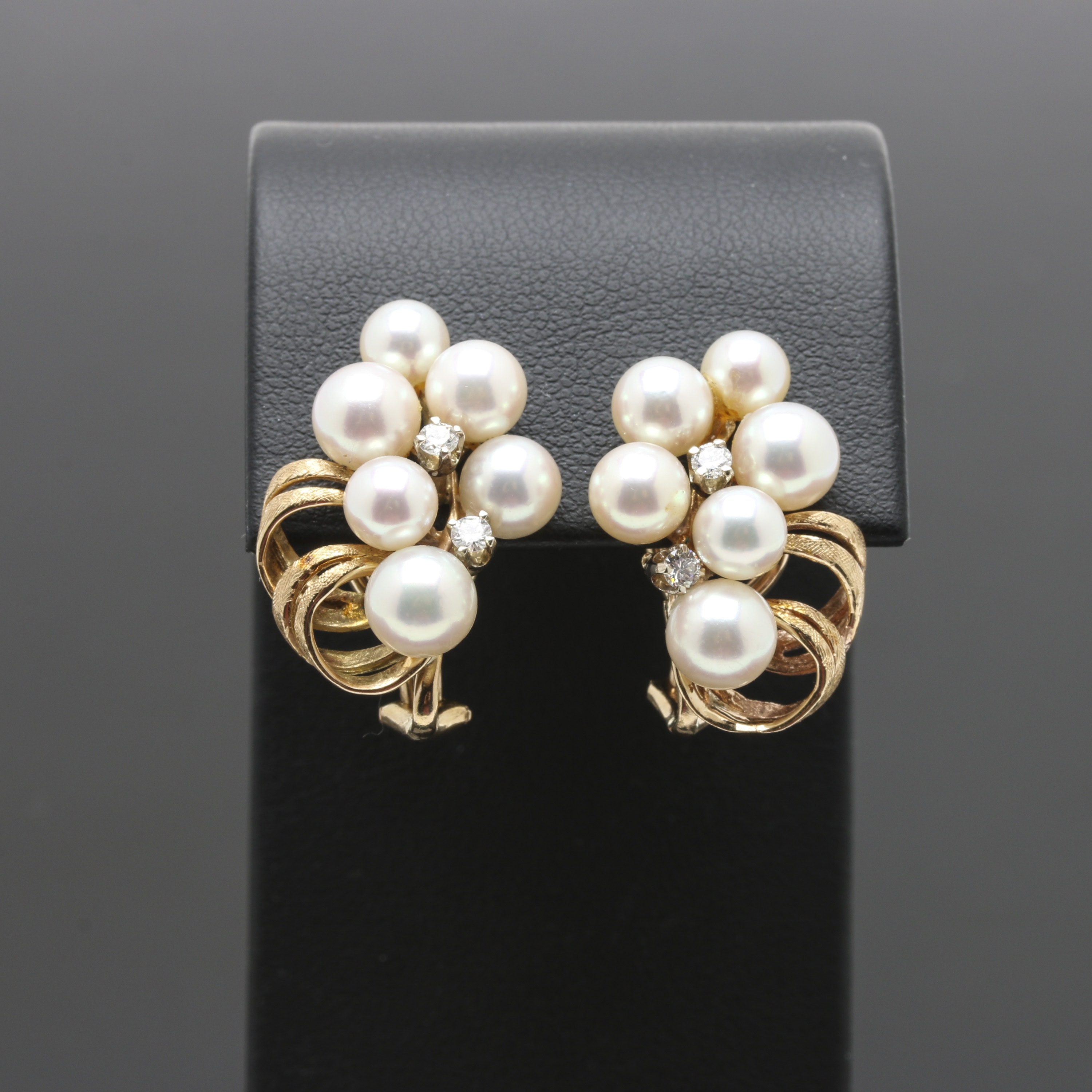 14K Yellow Gold Cultured Pearl Cluster Earrings With Diamond Accents