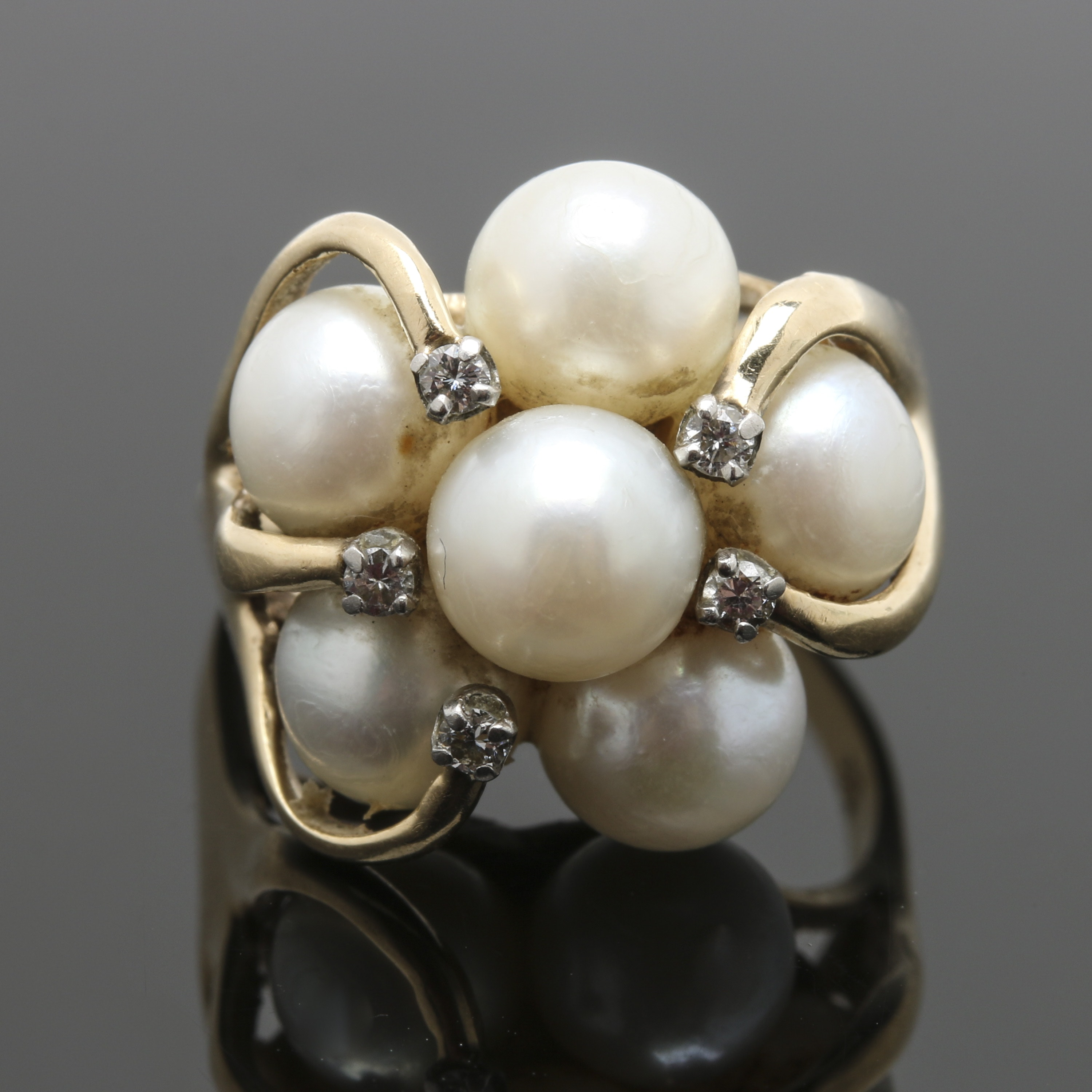 14K Yellow Gold Cultured Pearl and Diamond Cluster Ring