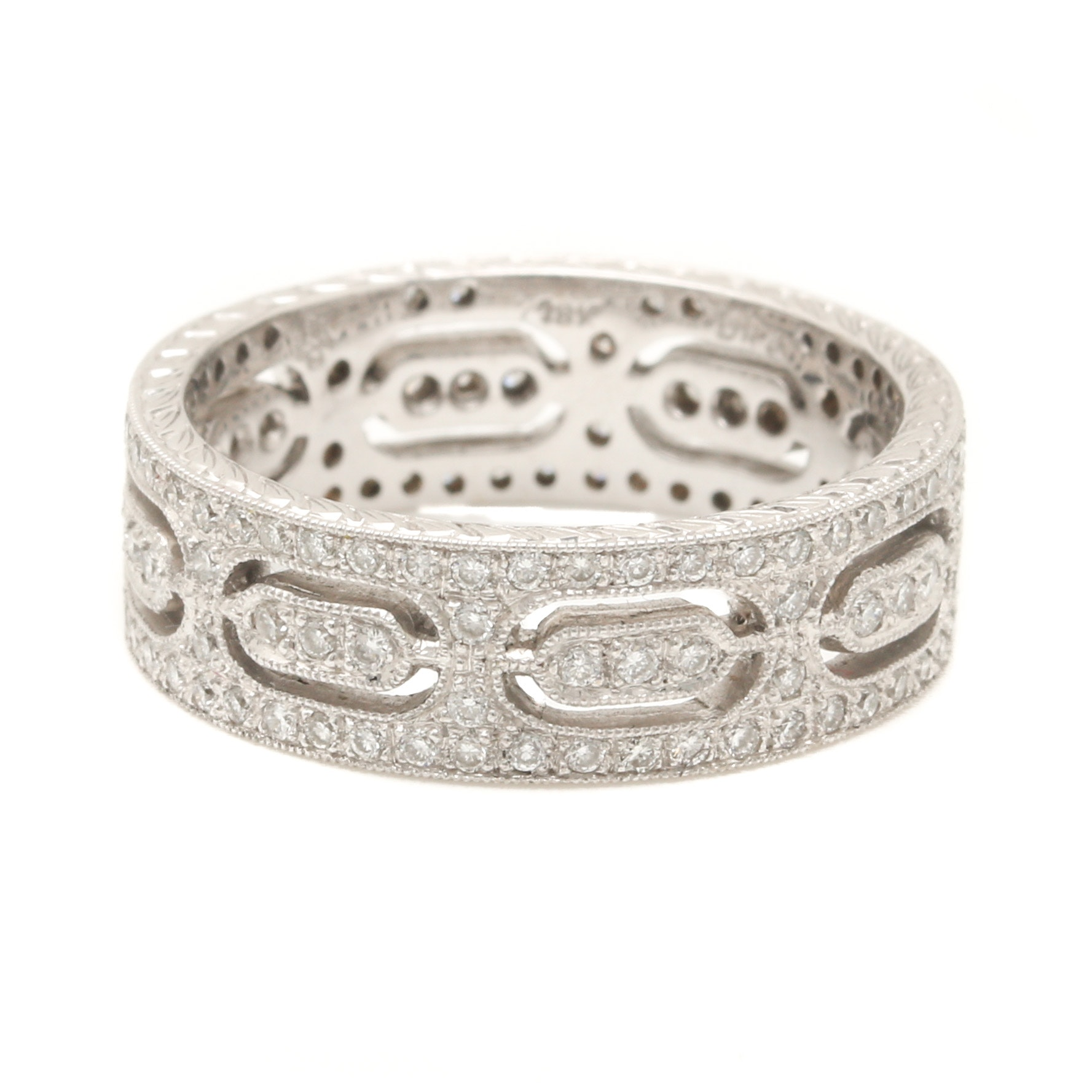 18K White Gold Openwork Diamond Eternity Ring Band