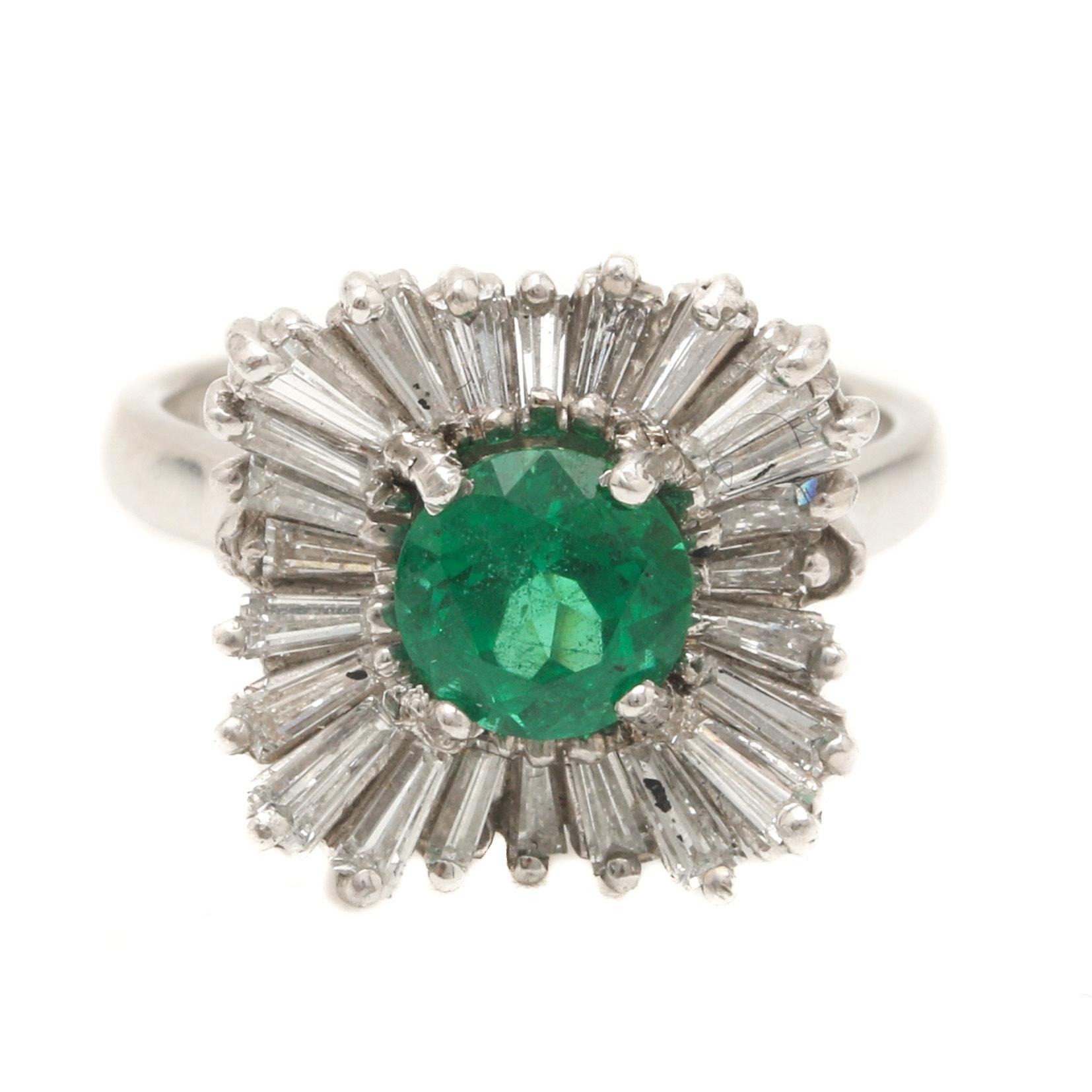 Platinum 1.04 CT Emerald and 1.20 CTW Diamond Ring