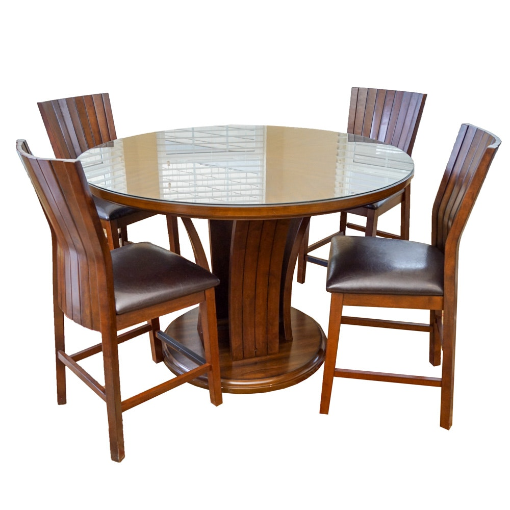Crown Mark Contemporary Acacia Wood Dining Table and Chairs