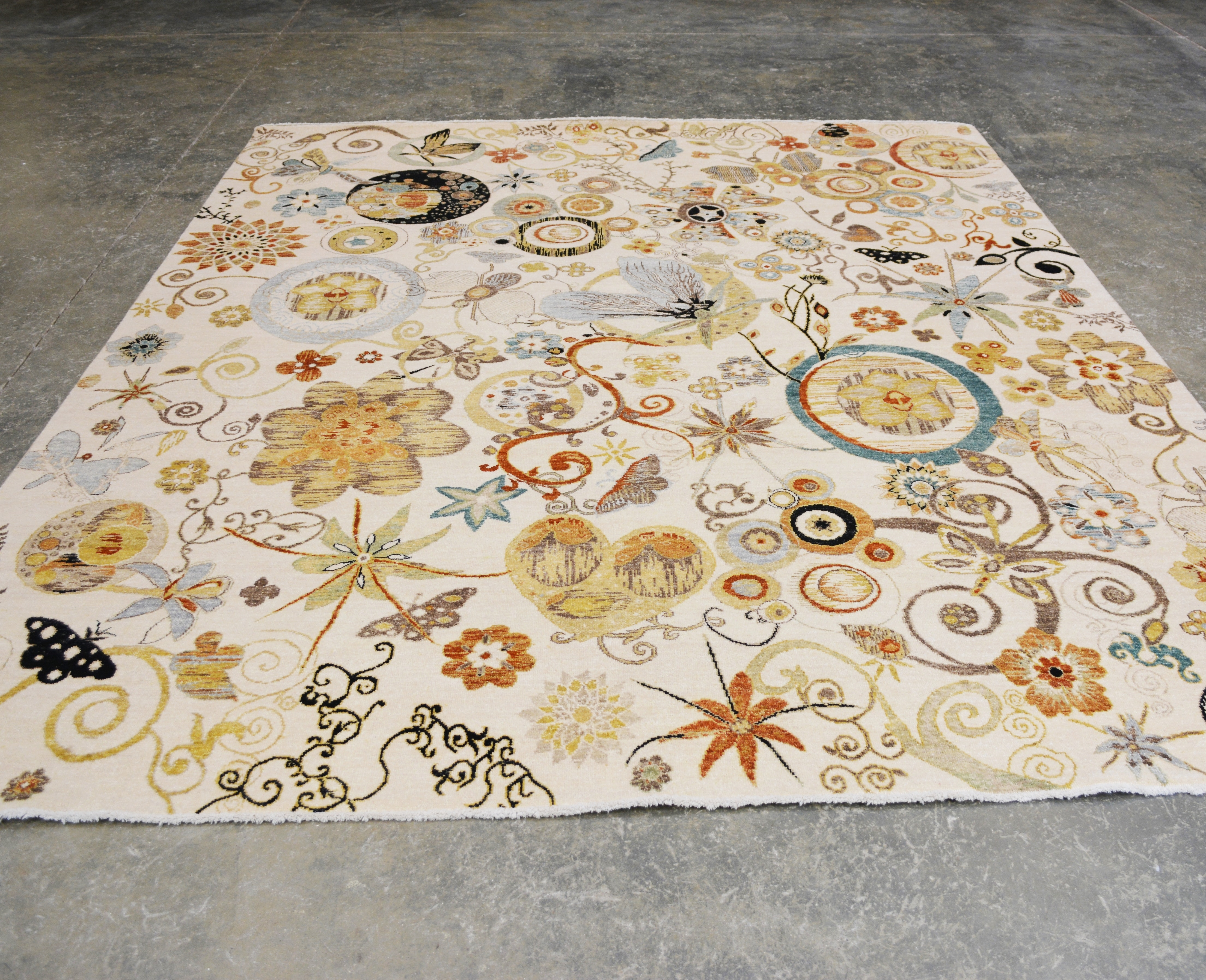 Hand-Knotted Indian Garden Wool Area Rug