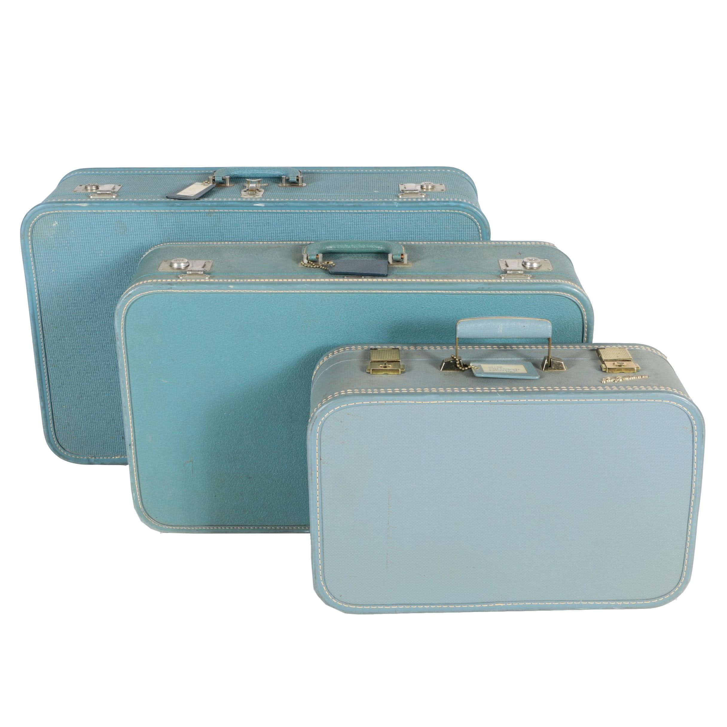 Vintage Blue Luggage Including Lady Baltimore