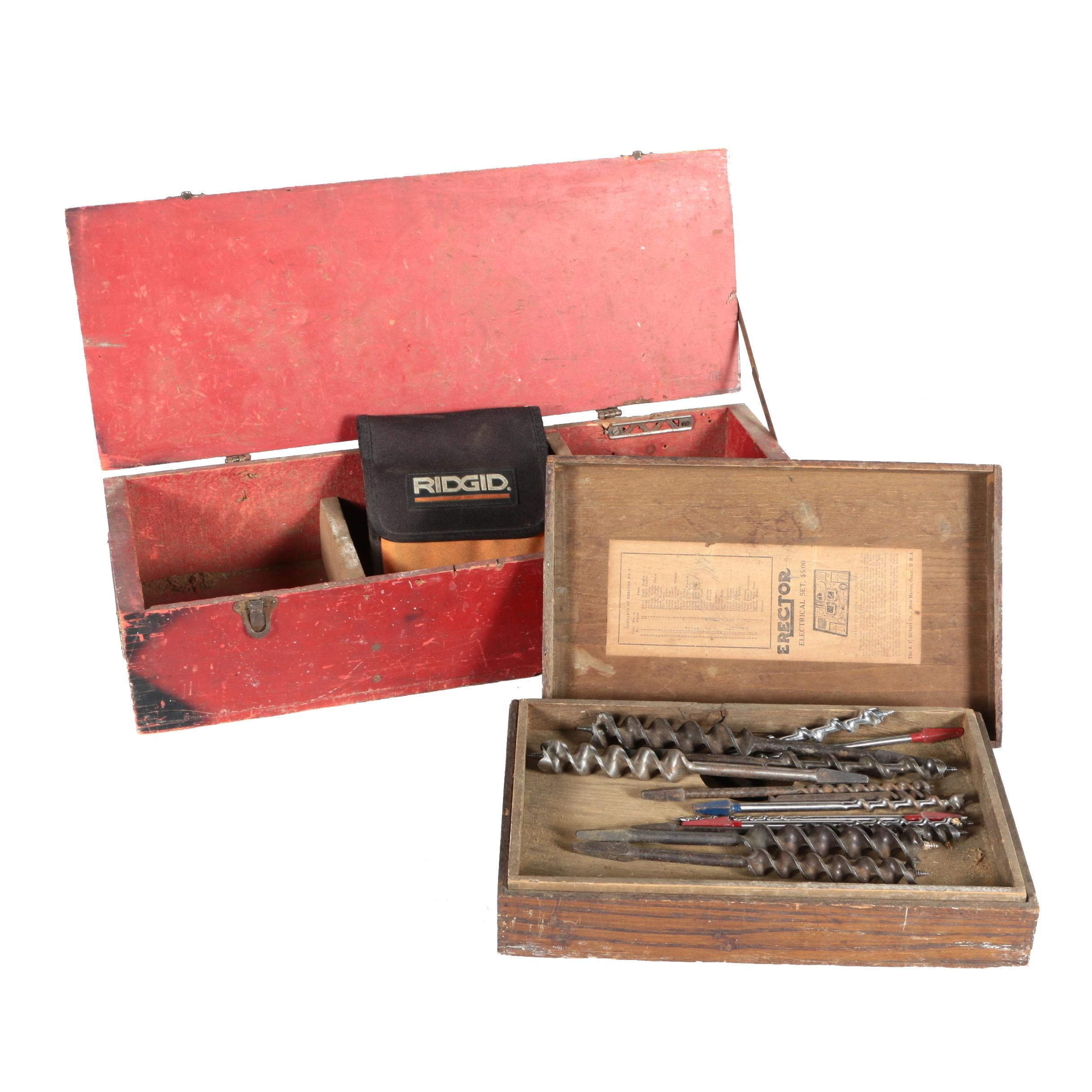 Vintage Boxes and Drill Bits Featuring Auger Bits