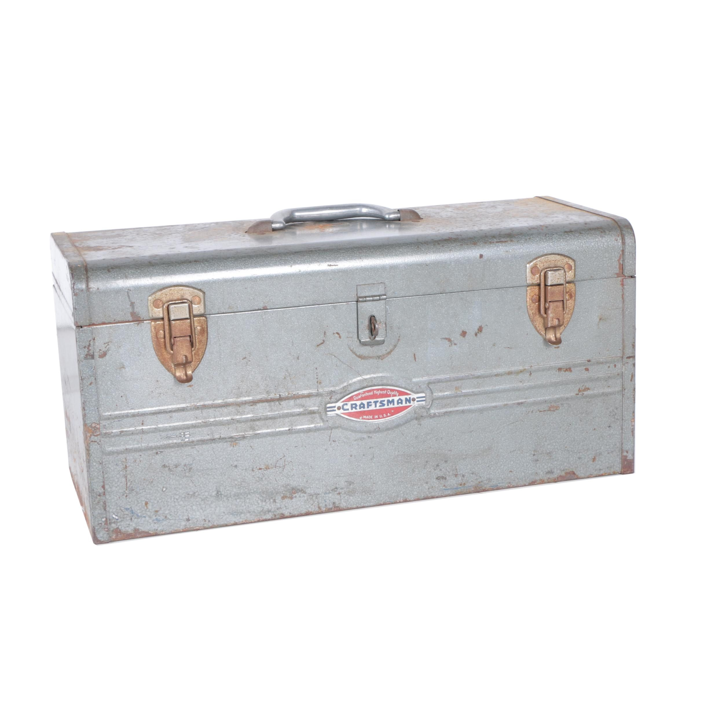 Craftsman Metal Toolbox with Removable Tray and Tools