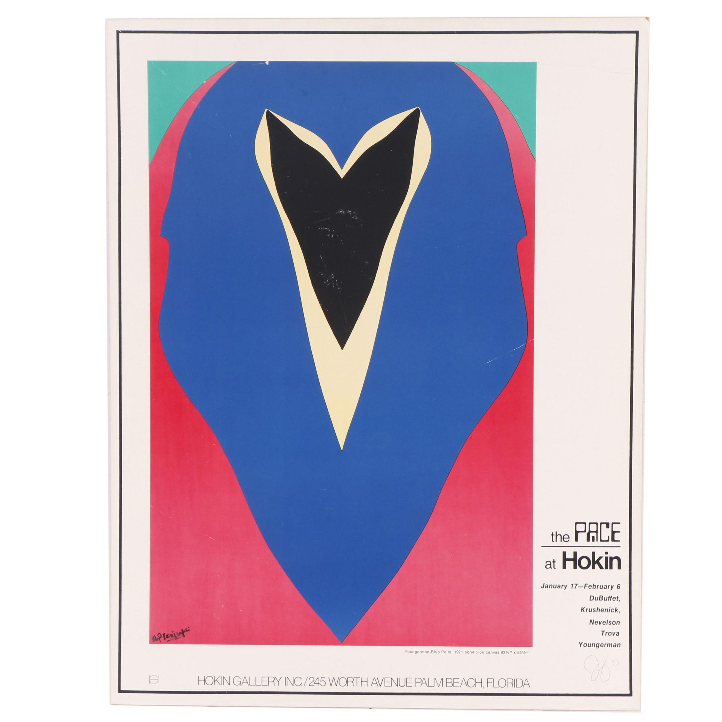 "Signed Lithograph Exhibition Poster after Youngerman ""Blue Point"""