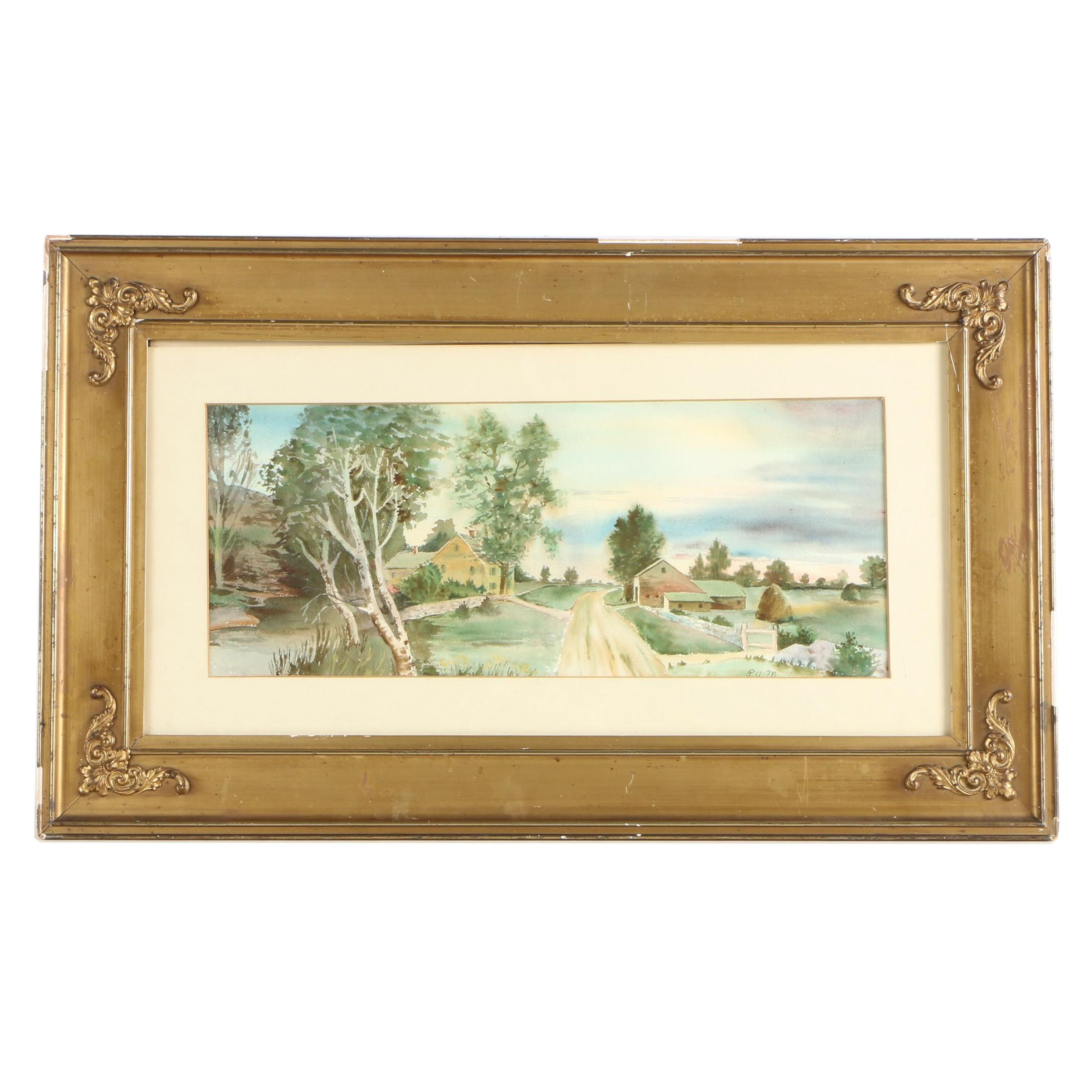 P.A.M. Watercolor Painting of a Rural Landscape