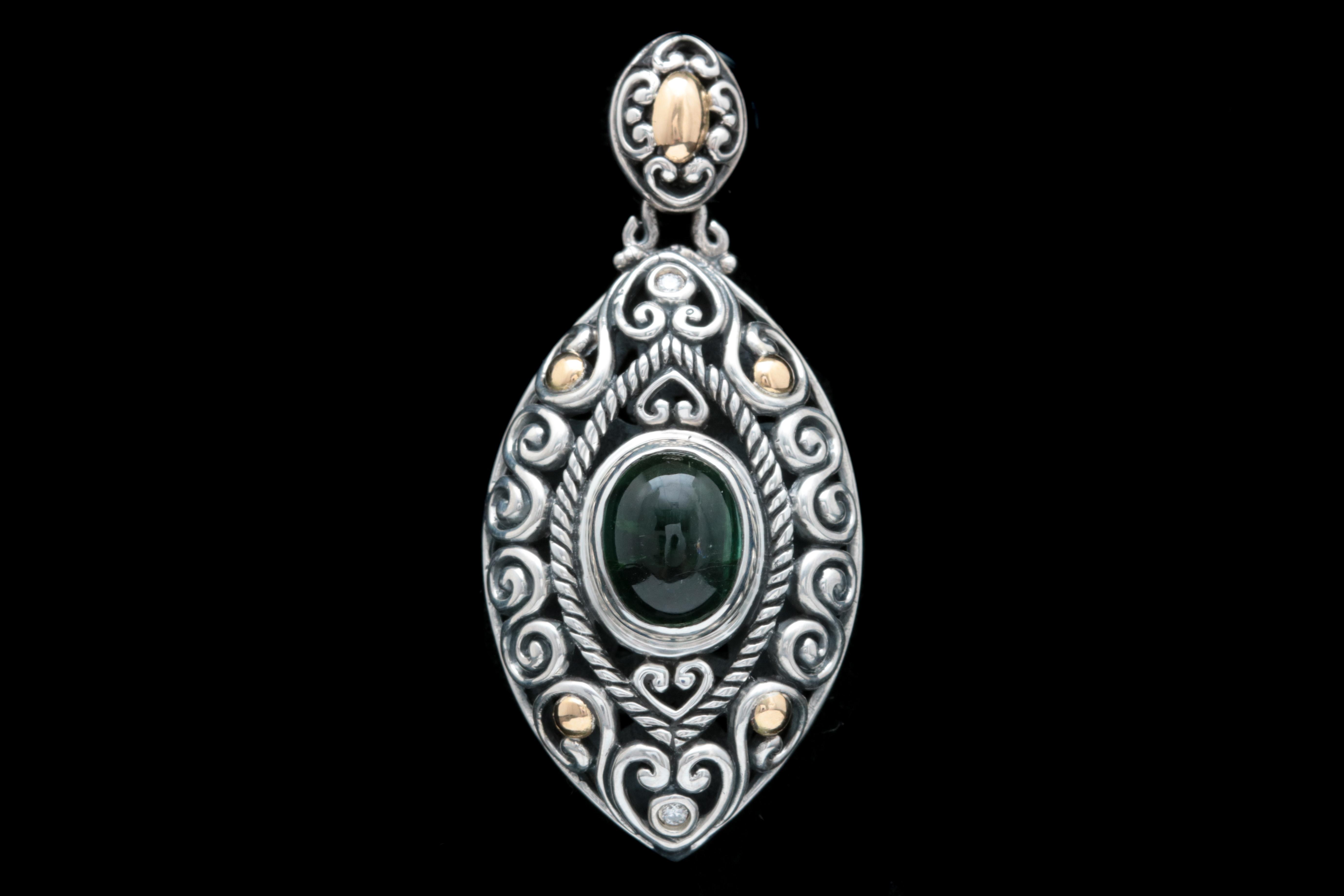 Robert Manse Sterling Silver, 18K Gold, Green Tourmaline and Diamond Pendant