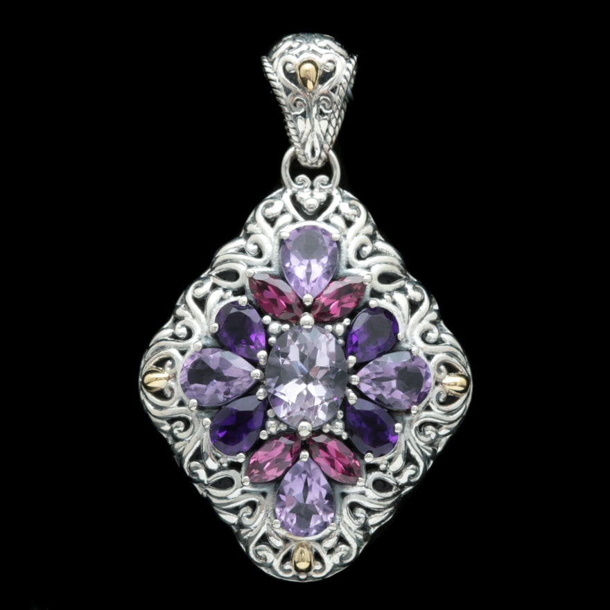 Robert manse sterling silver 18k yellow gold and amethyst pendant mozeypictures Images