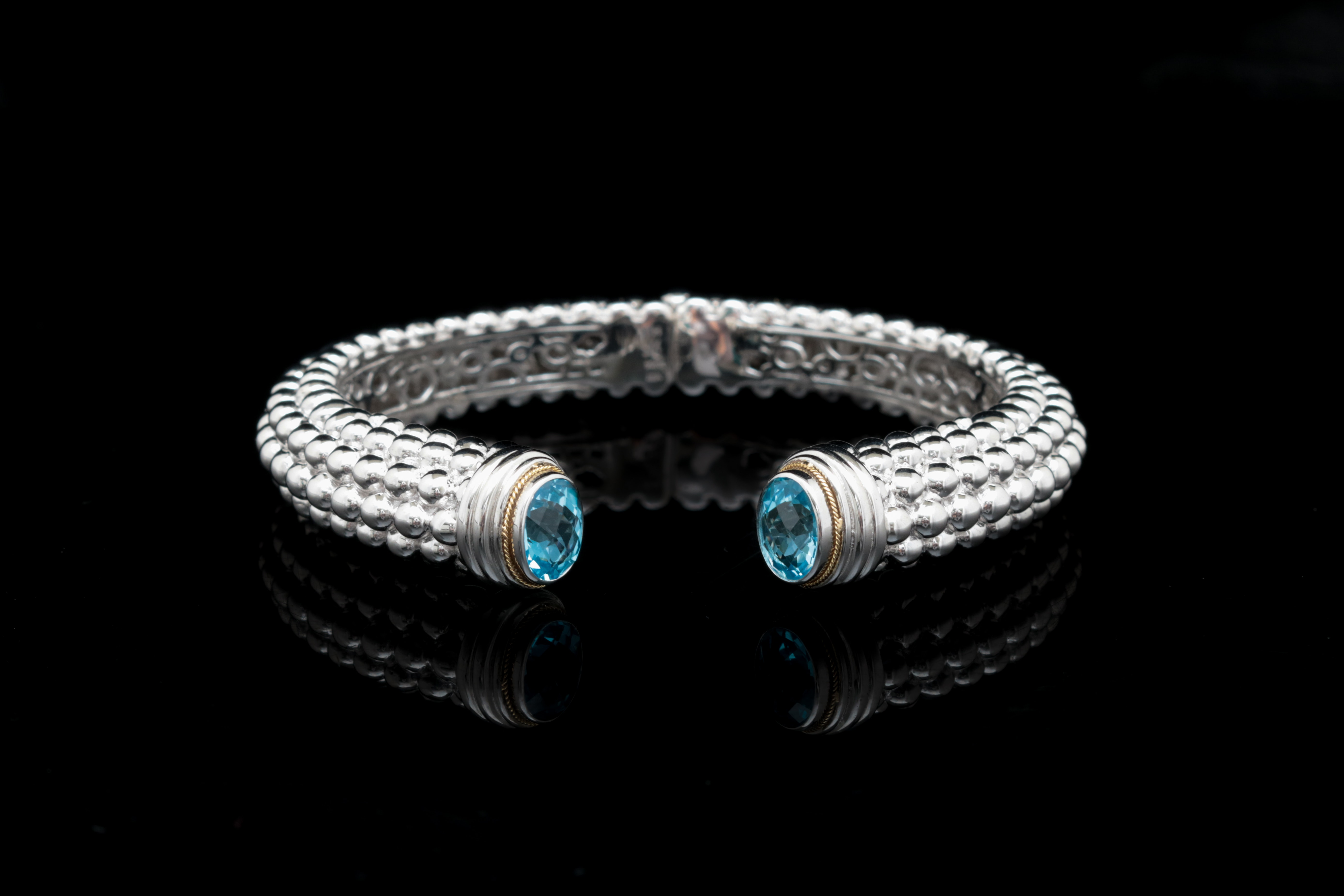Robert Manse Sterling Silver, 18K Yellow Gold and Blue Topaz Bracelet