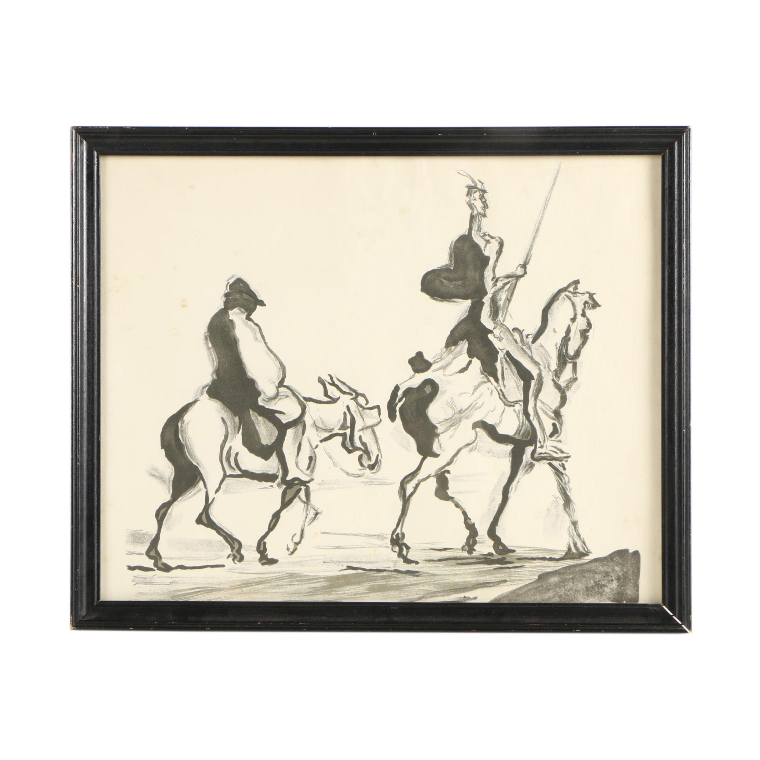 "Halftone Print After Honoré Daumier's ""Don Quixote and Sancho Panza"""