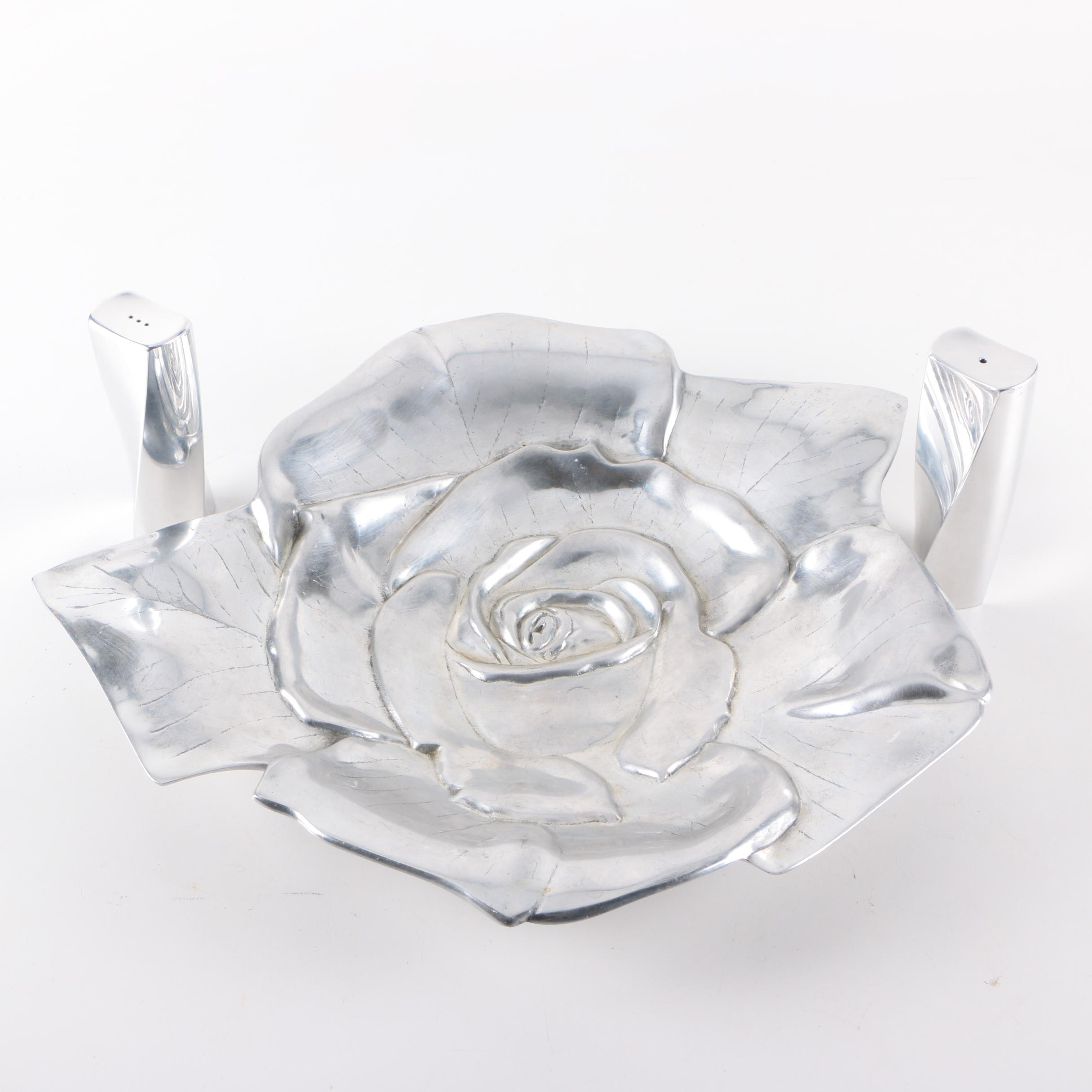 Alum Creations Rose Serving Platter and Nambe Salt and Pepper Shakers