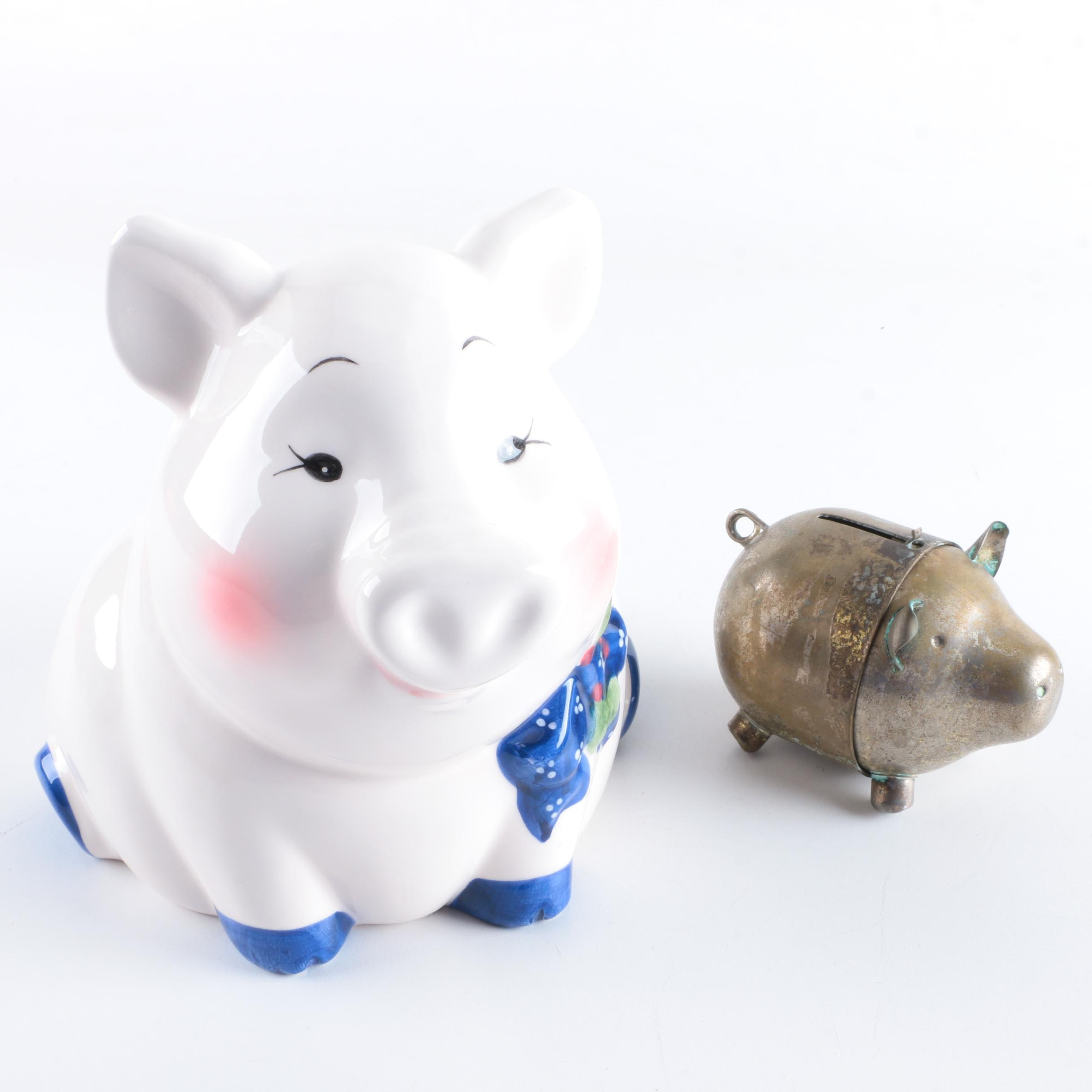 Pig Bank and Ceramic Figurine