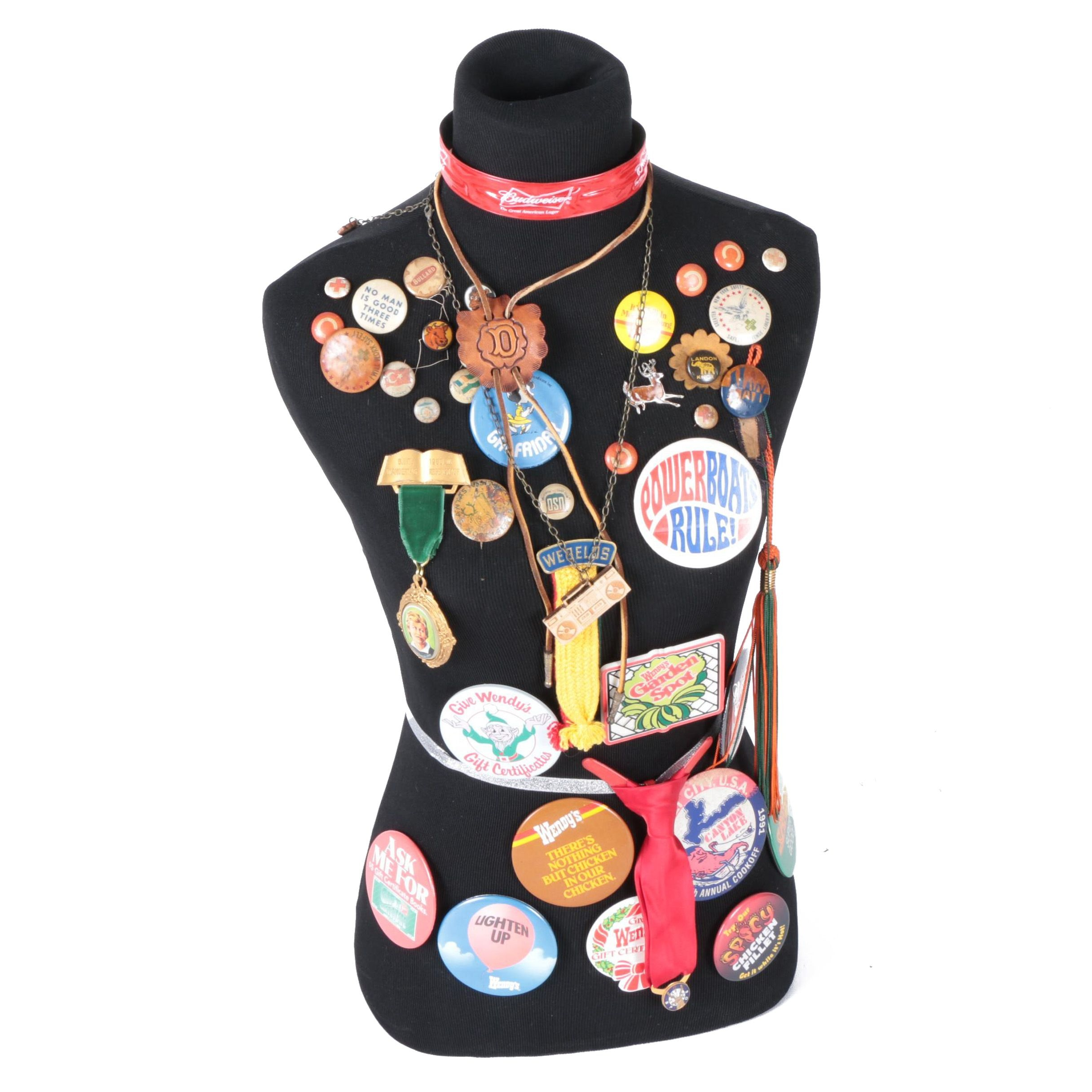 Torso Mannequin with Vintage Pins and Badges