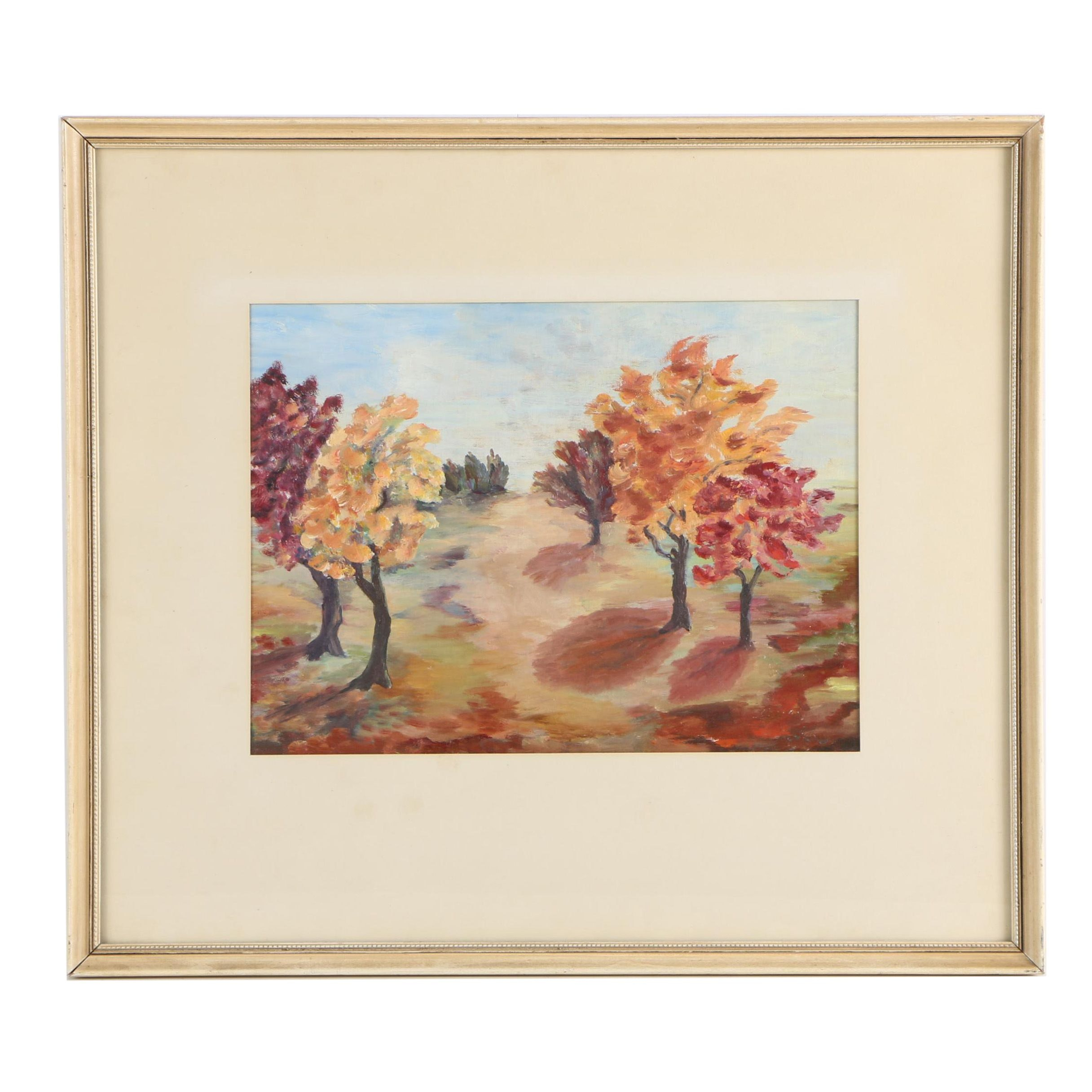 Mid Century Impressionist-Inspired Oil Painting of Autumn Trees