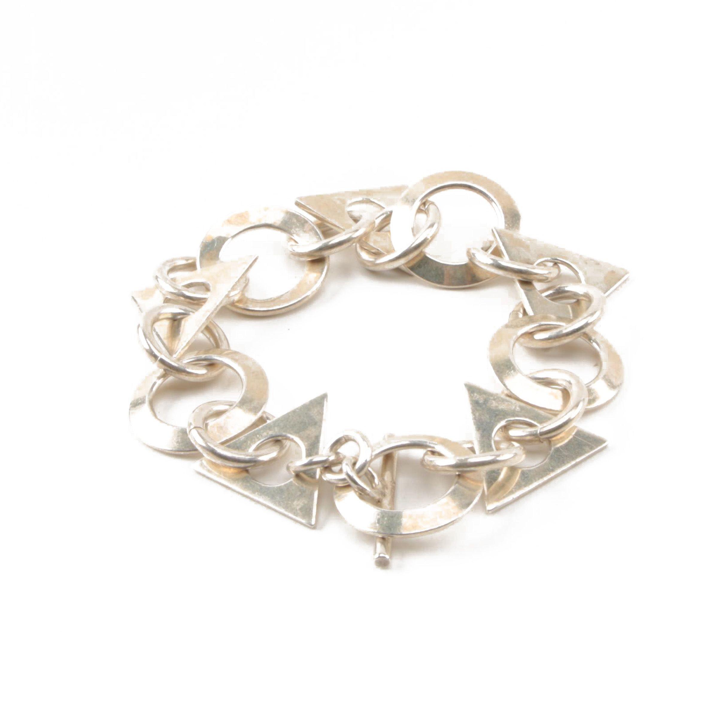 Sterling Silver Geometric Link Bracelet