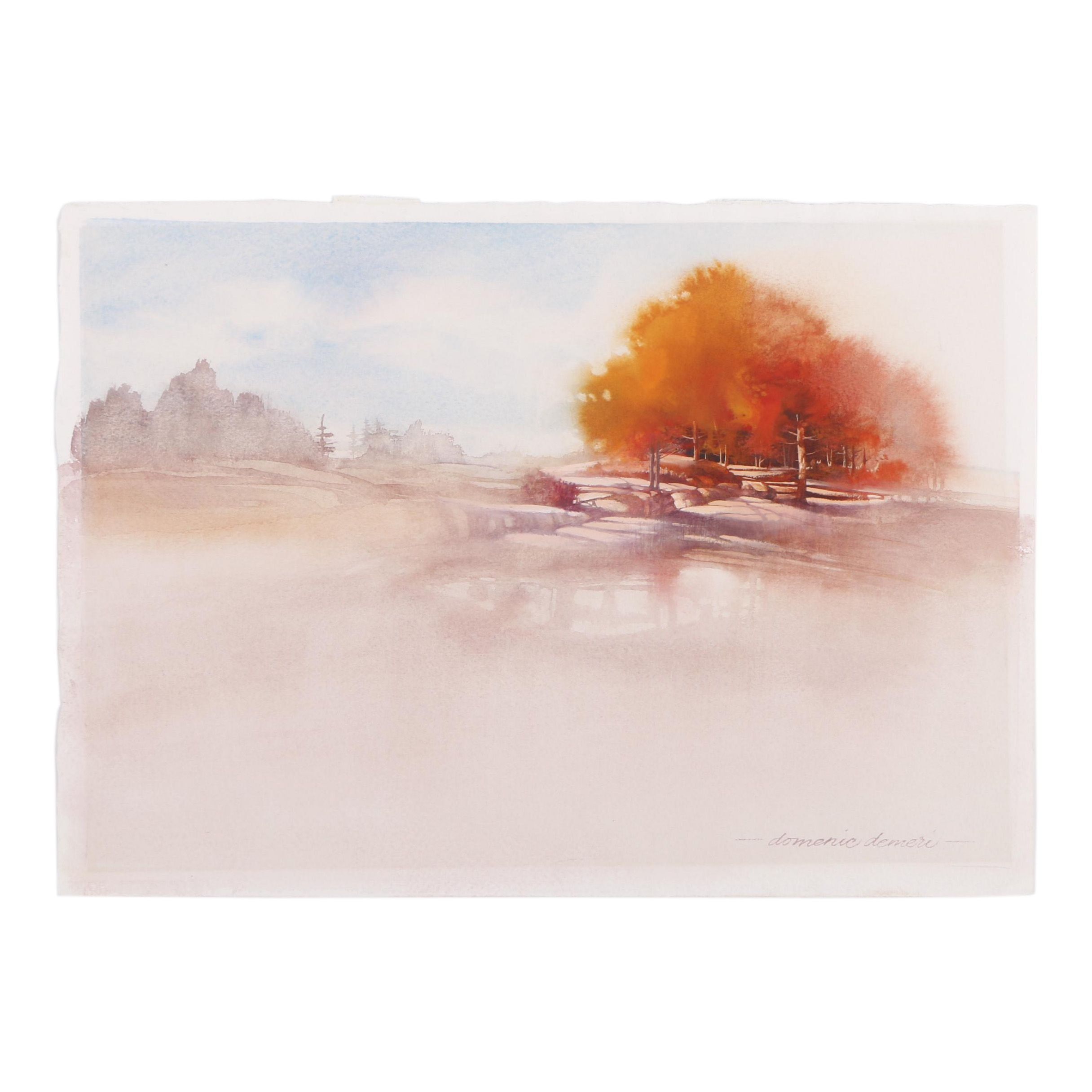 Domenic Demeri Watercolor Painting of a Vibrant Landscape