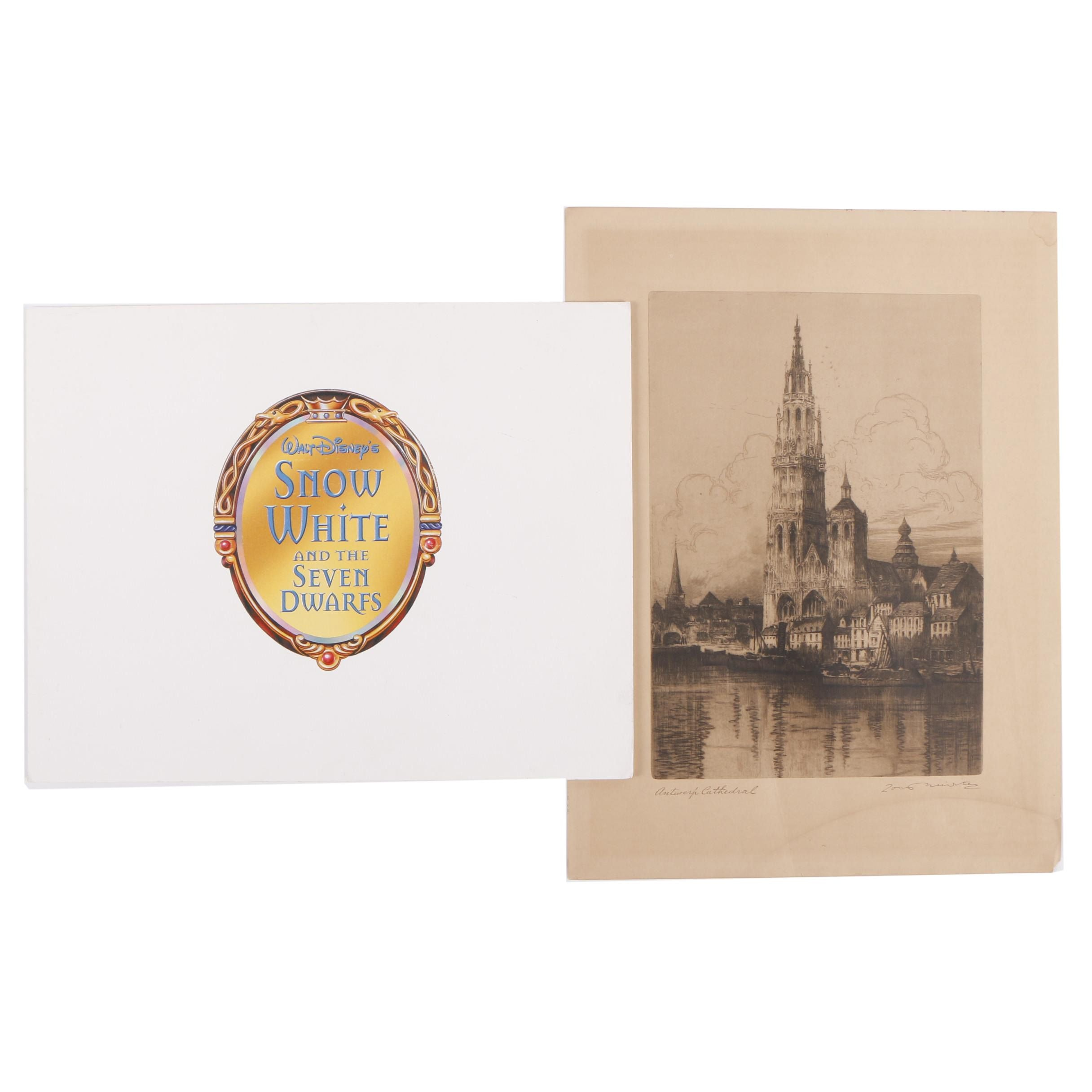 "Offset Lithographs From ""Snow White"" and a Reproduction Antwerp Cathedral Print"
