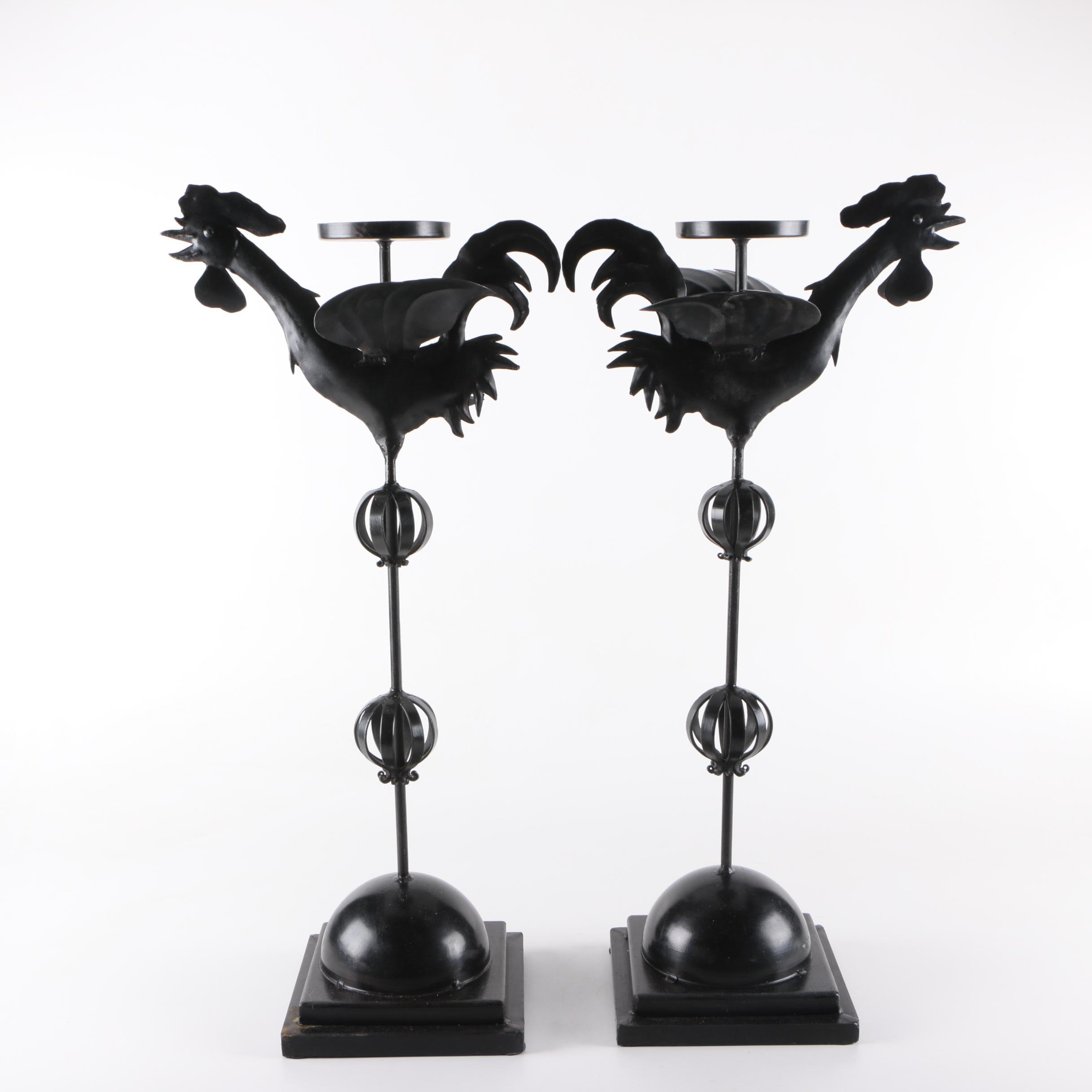 Pair of Metal Rooster Candle Holders