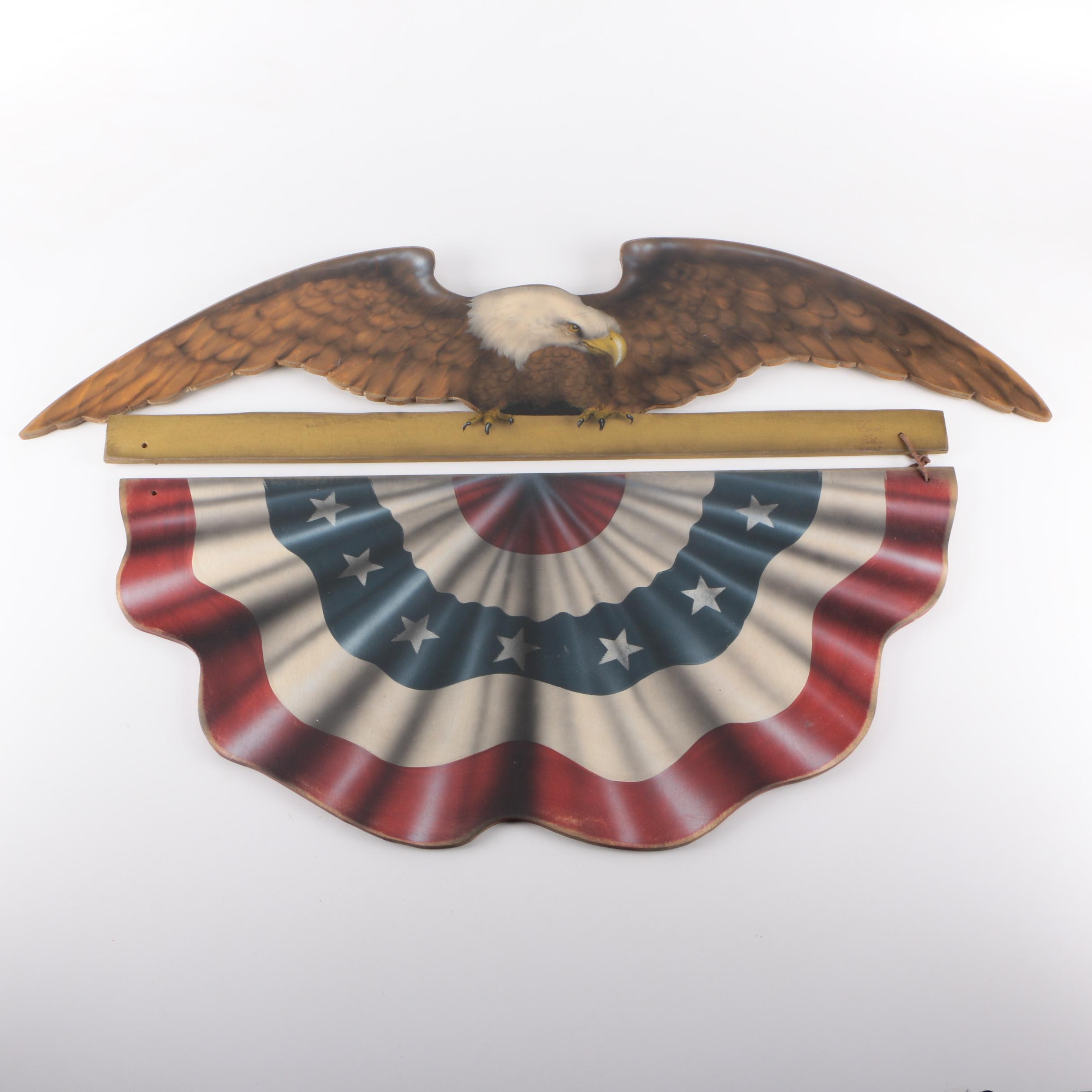 Wooden Bald Eagle and Flag Wall Hanging