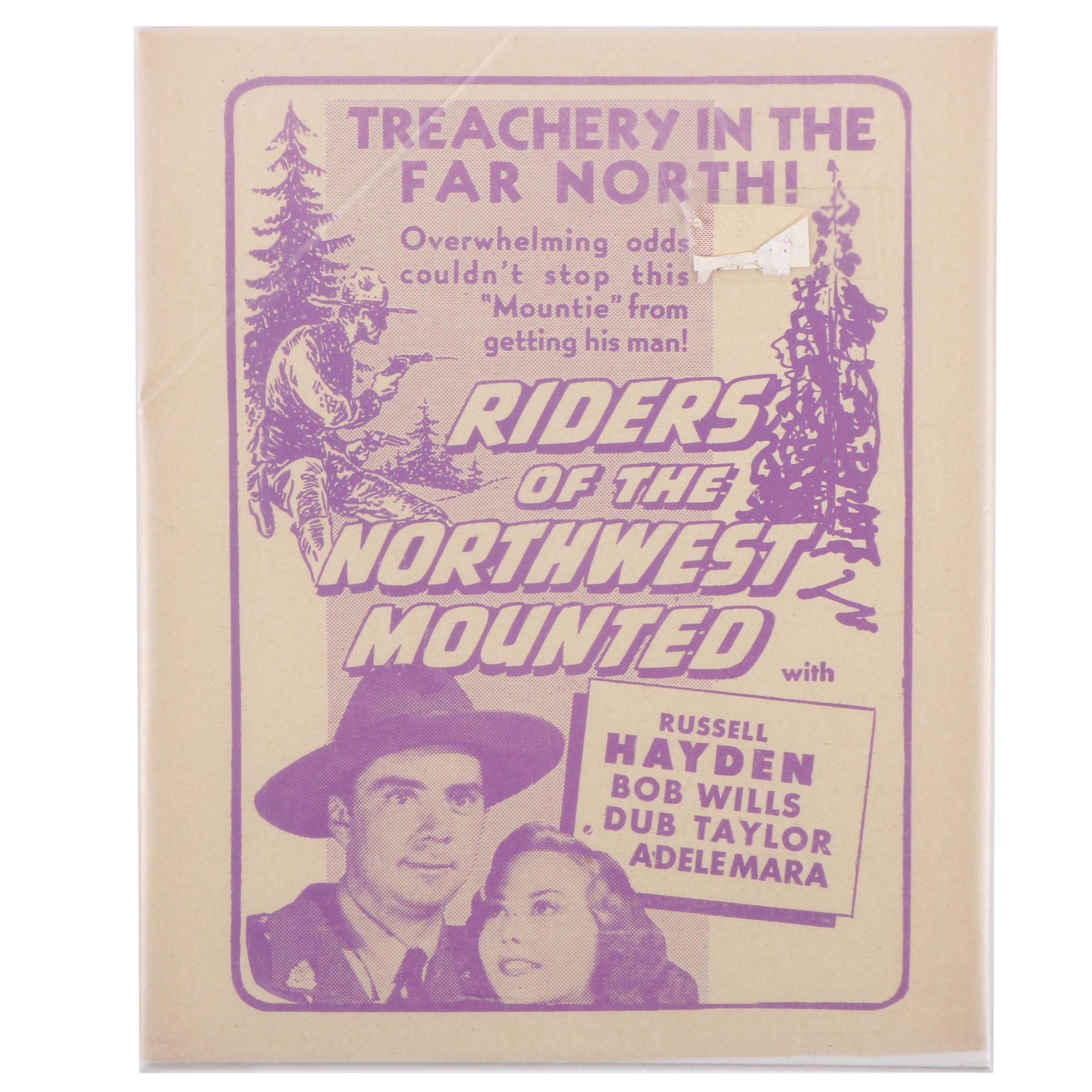 """Halftone Print Advertisement for the Film """"Riders of the Northwest Mounted"""""""