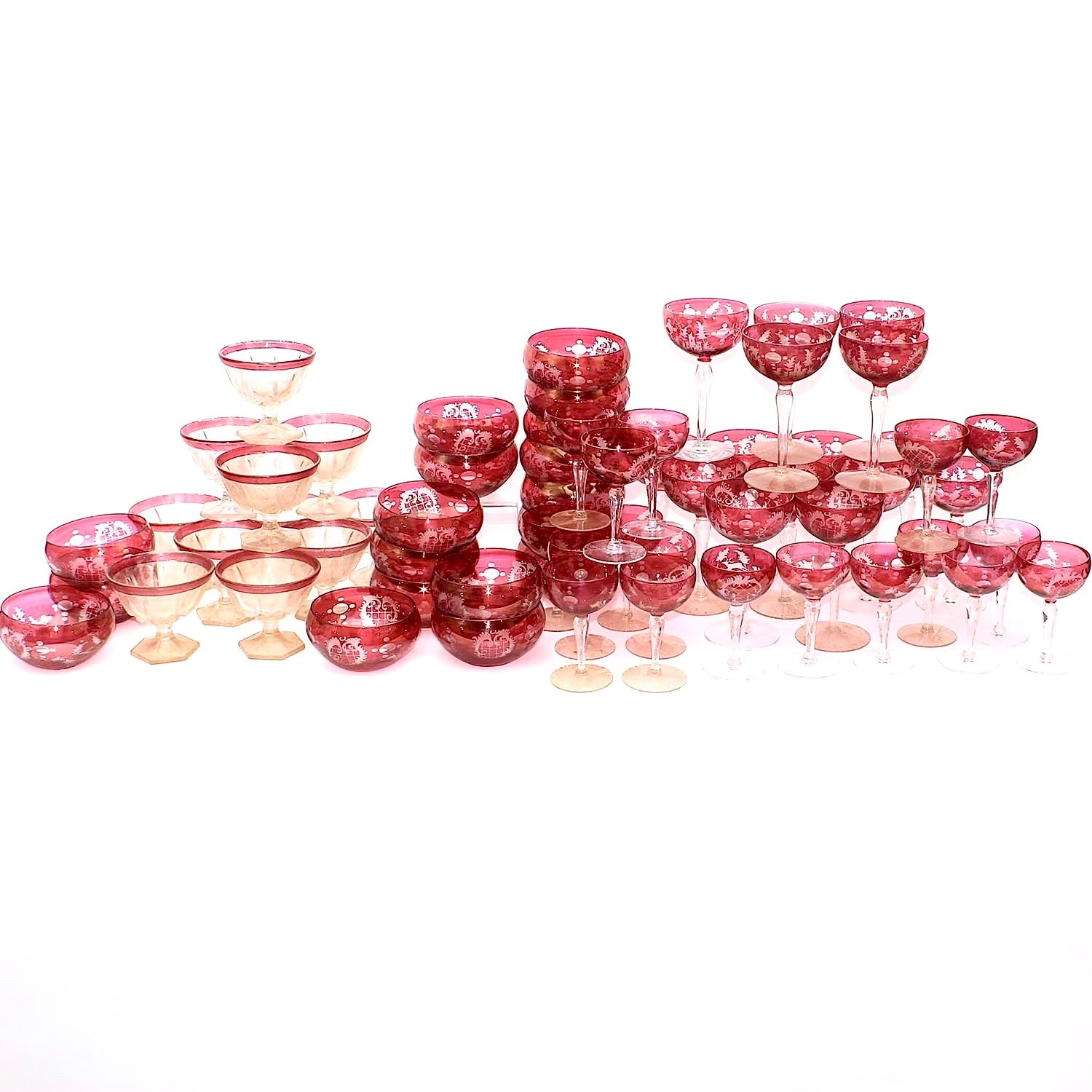 Vintage Flashed Cranberry Bohemian Stemware and Tableware and More
