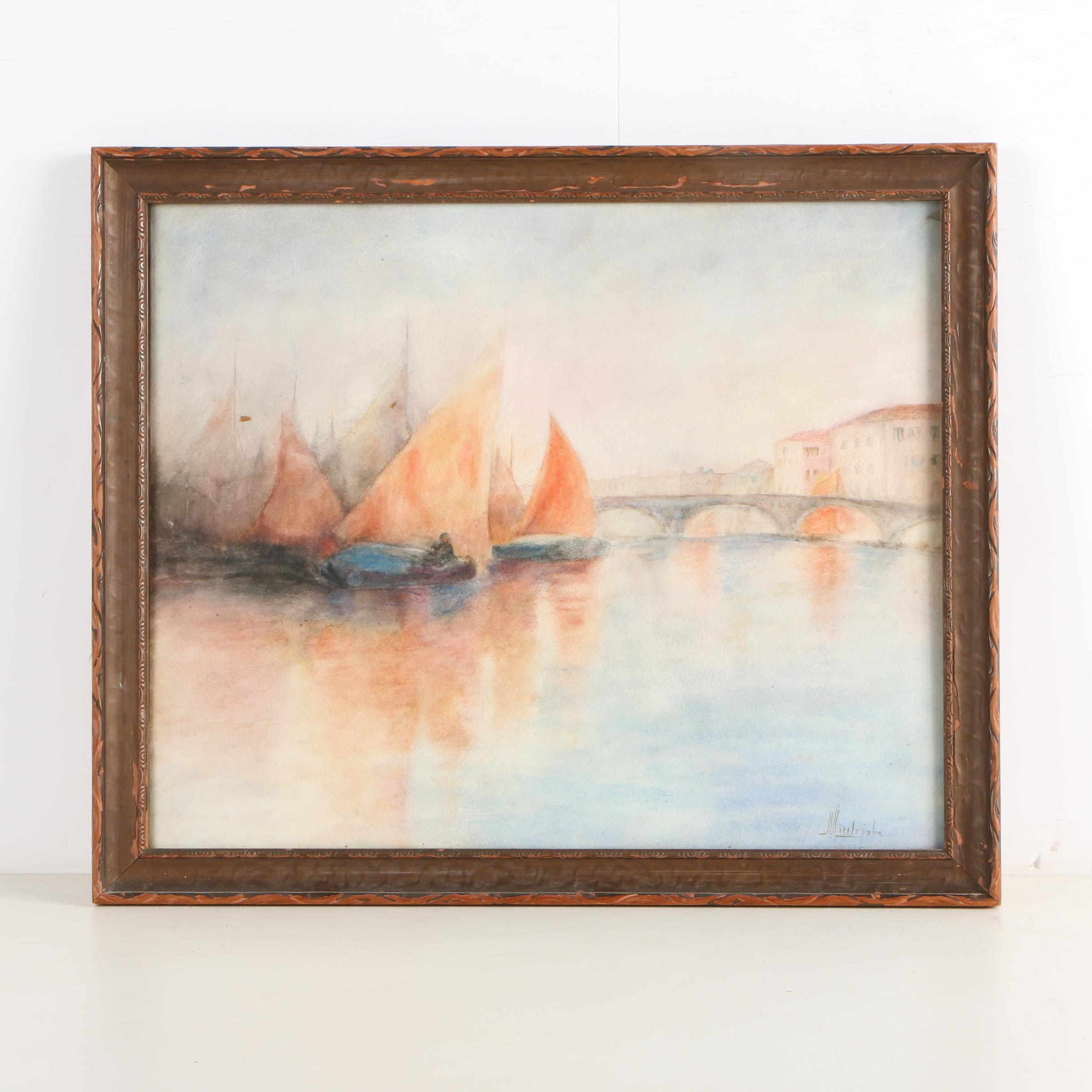 Littlejohn Watercolor Painting of Boats