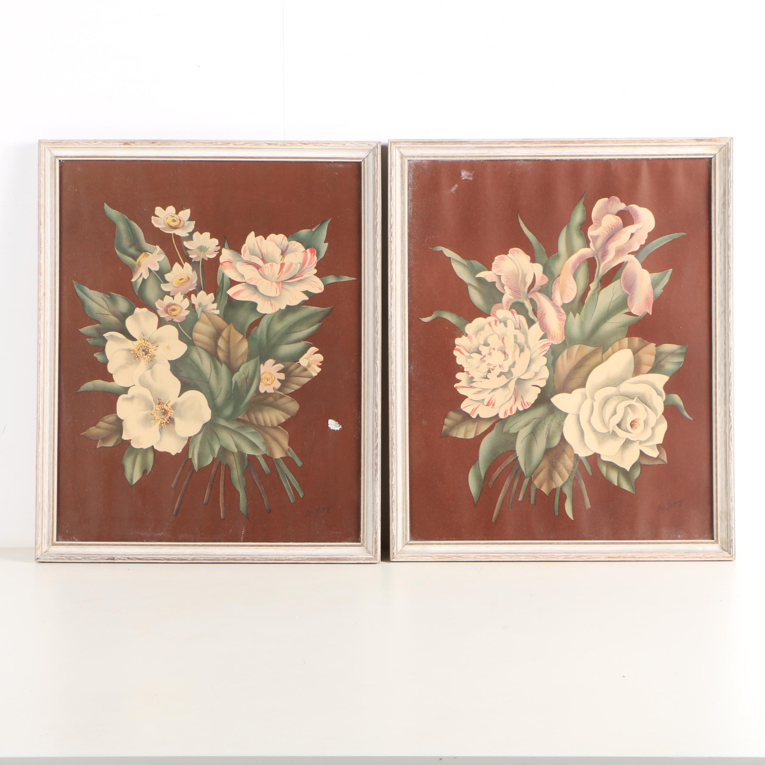 De Jonge Offset Lithographs on Paper of Floral Bouquets