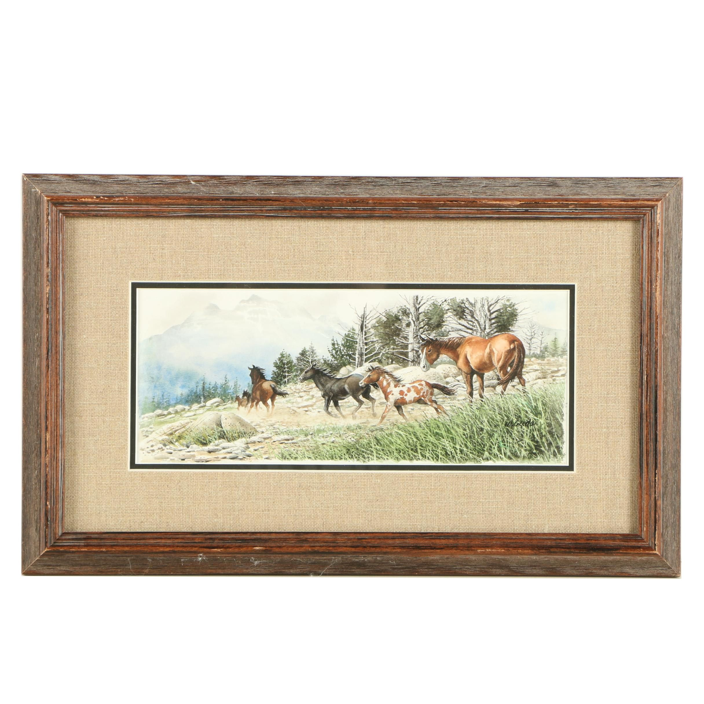 Walt Cude Watercolor Painting of Wild Horses