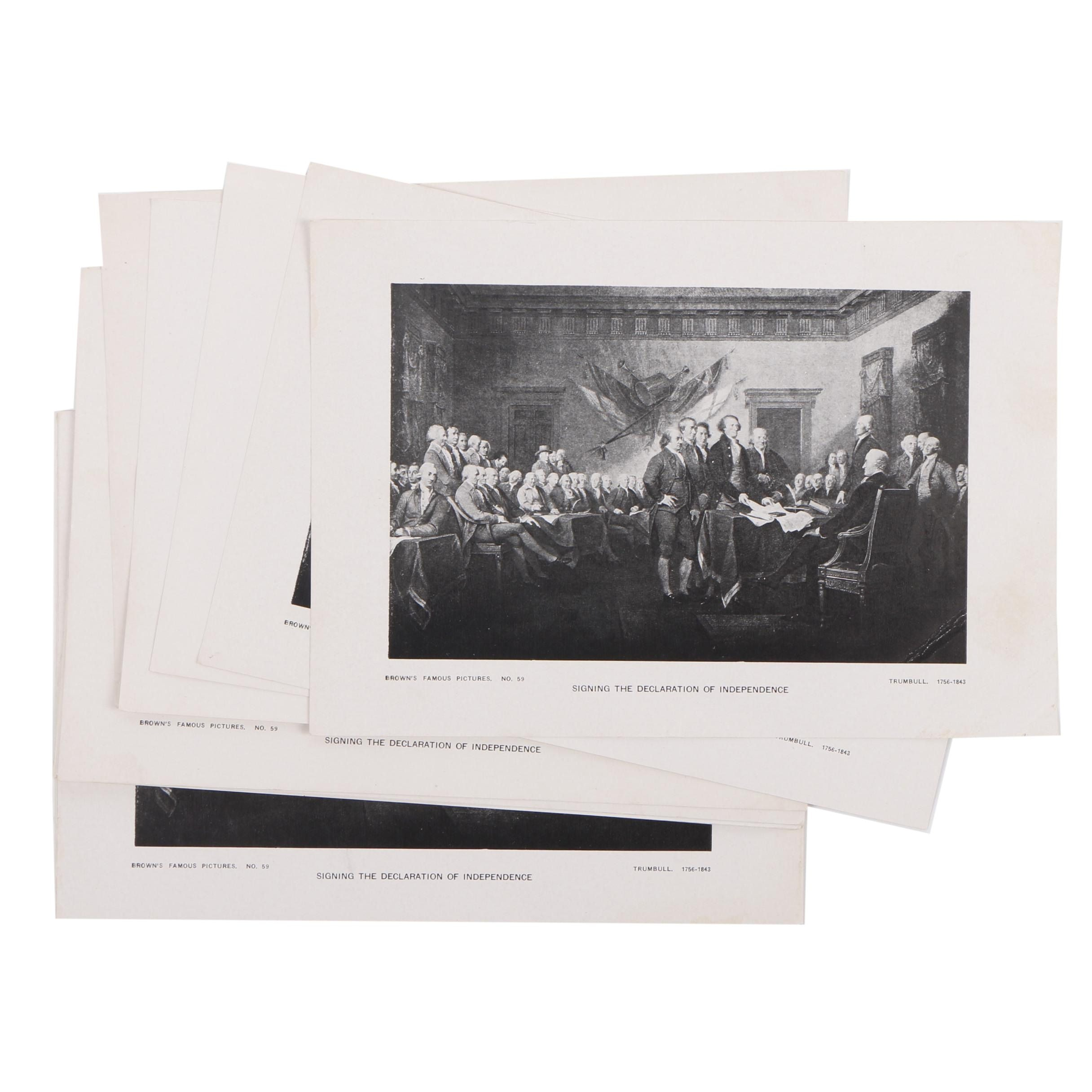 """Halftone Prints After John Trumbull """"Signing of The Declaration of Independence"""""""
