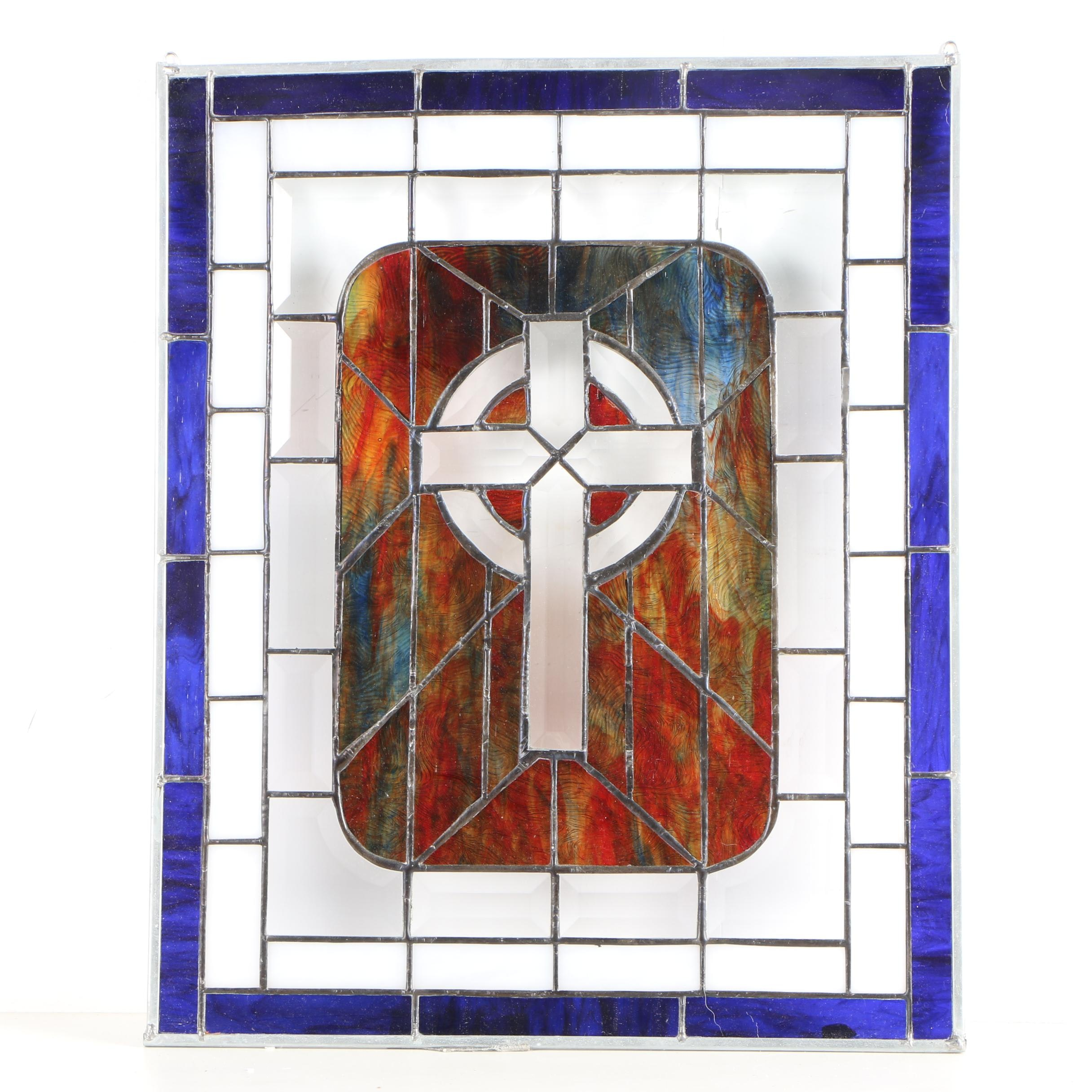 Stained Glass Panel of Celtic Cross