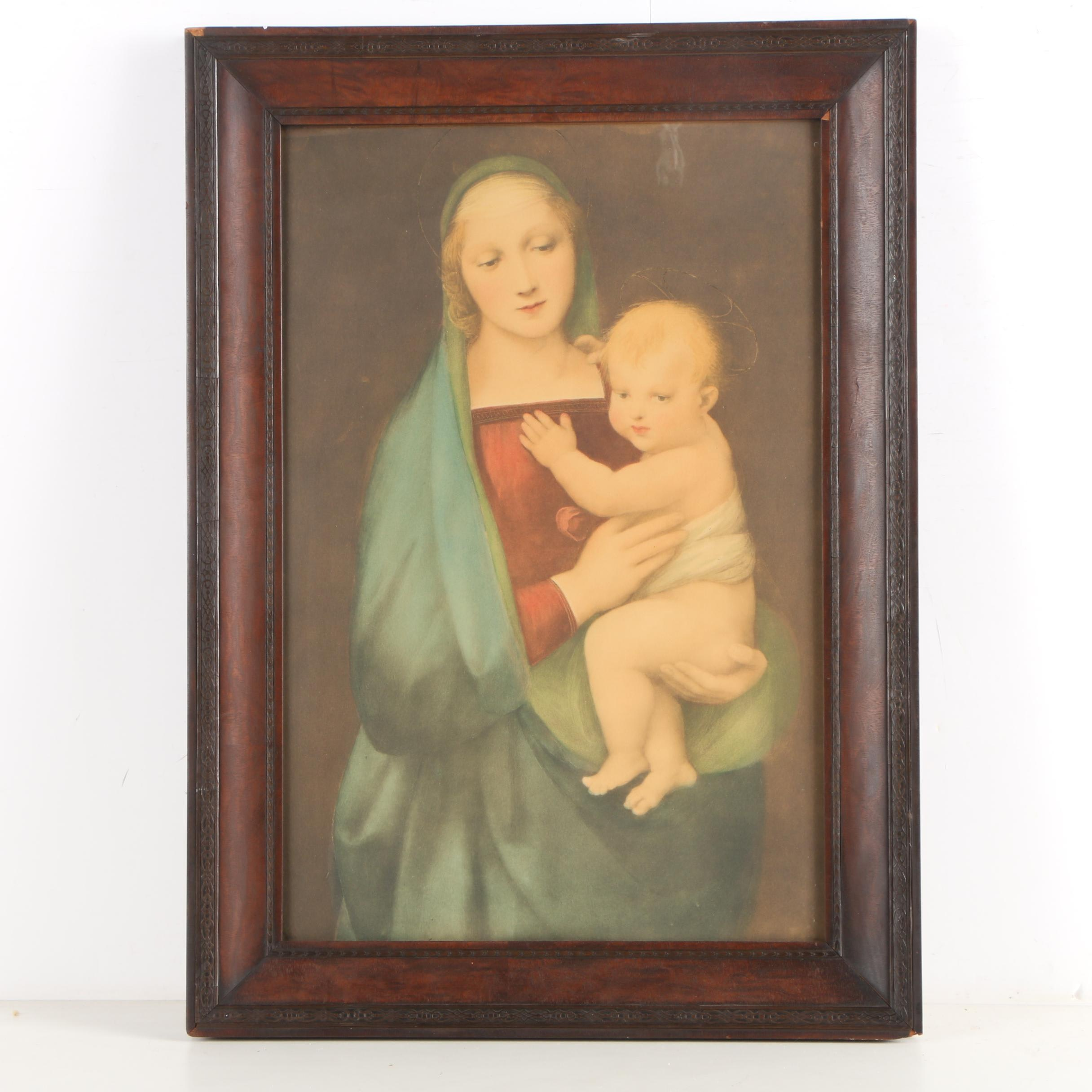 """Lithograph After Raphael's Painting """"Madonna del Granduca"""""""